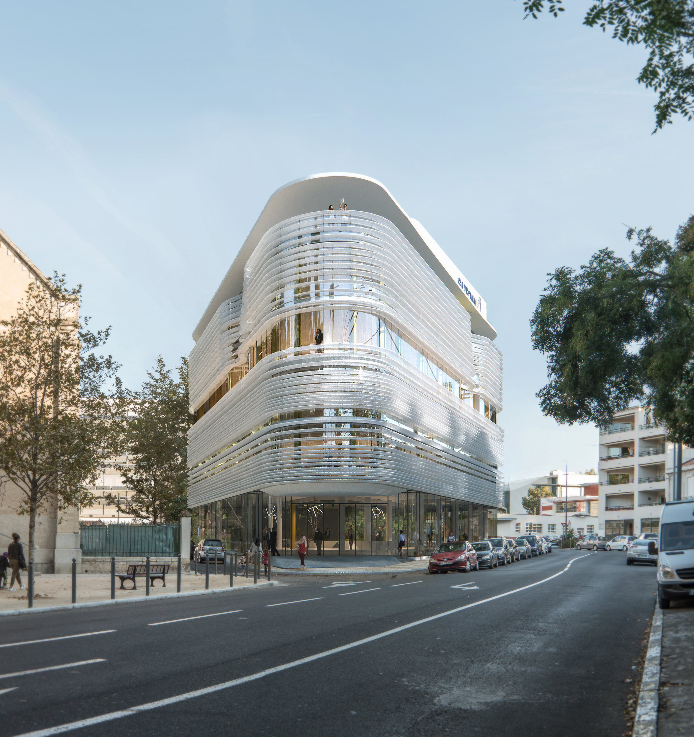 High quality 3D model of a business center inserted into the existing city context of Beziers