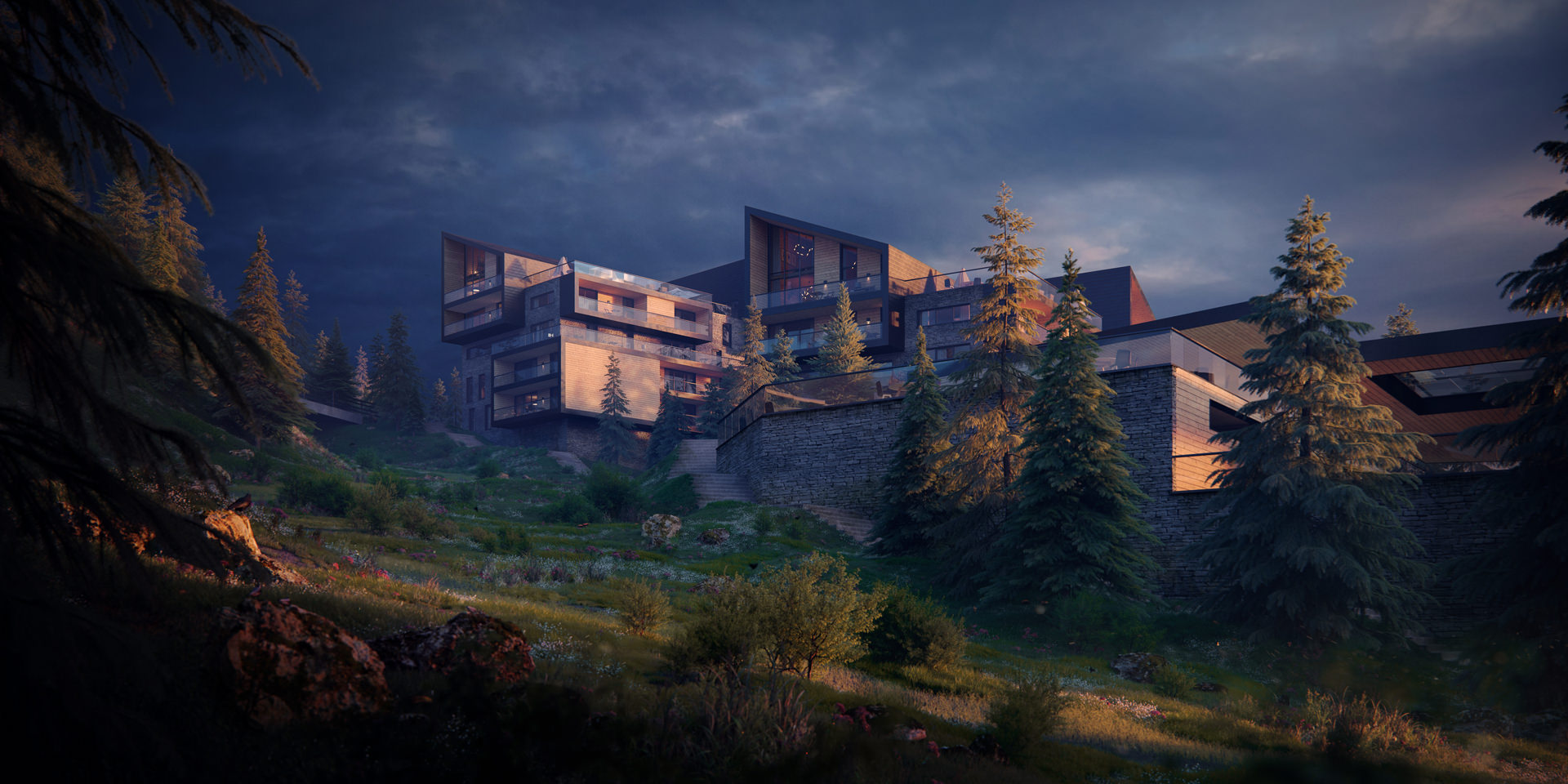 3D exterior visualization of a hillside retreat during blue hour in summer in the middle of a forest of the oldest ski resorts in France, Font-Romeu-Odeillo-Via