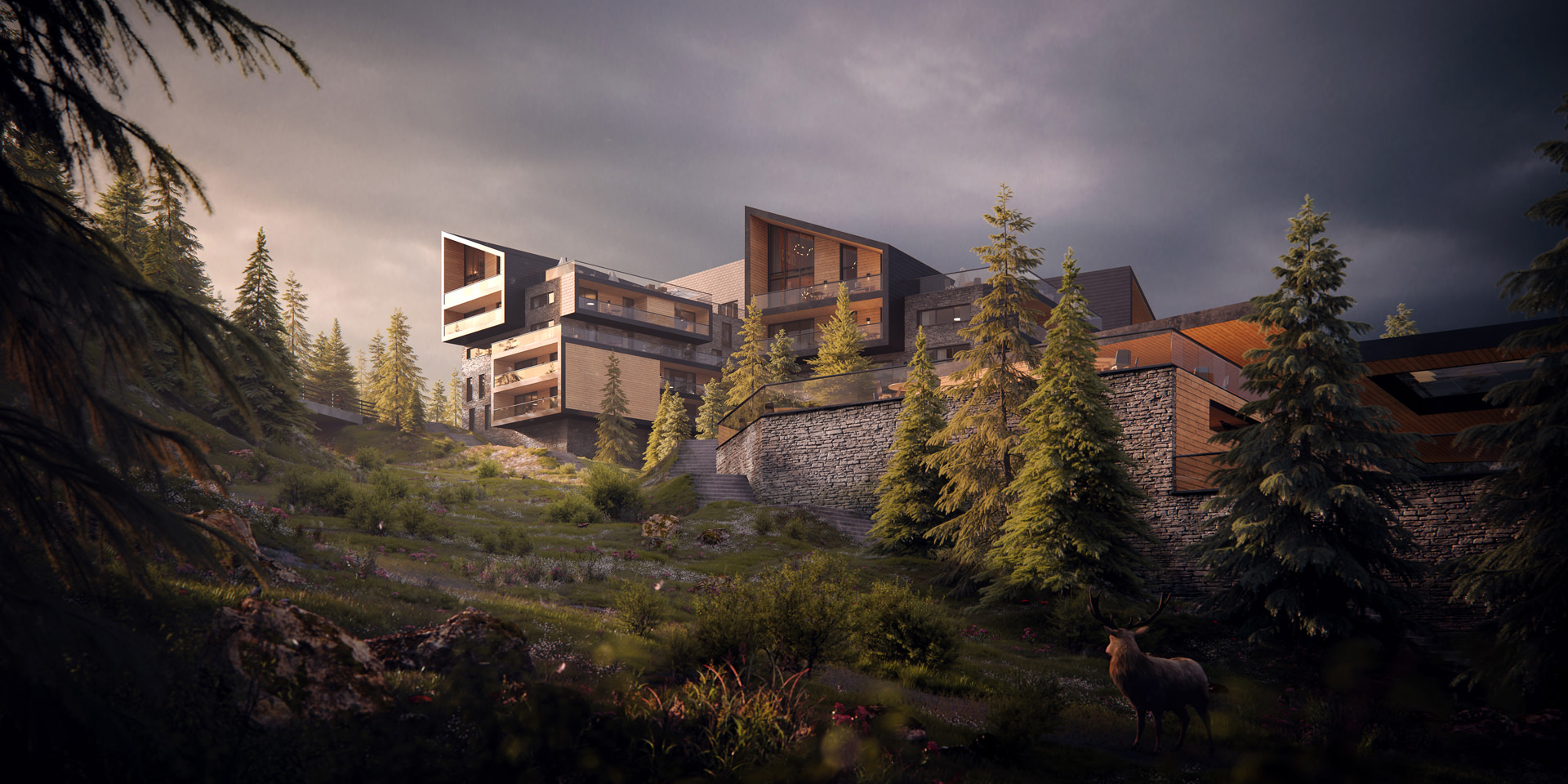 3D exterior render of a high-end recreational facility in Odeillo Ski Resort, France during dusk positioned at the hillside behind the stone fence with wild forest and a deer in the foreground