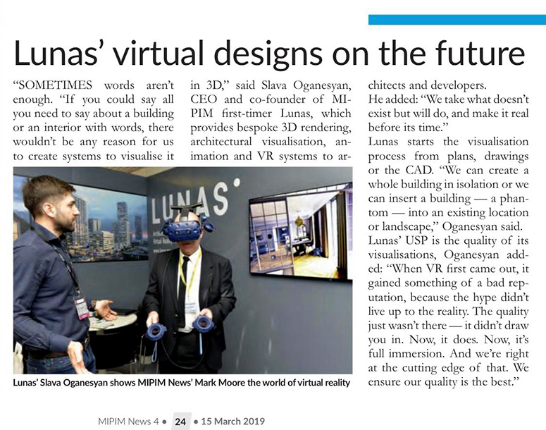 Newspaper article about virtual reality tours technologies presented by Lunas visualization studio at MIPIM 2019 propert show