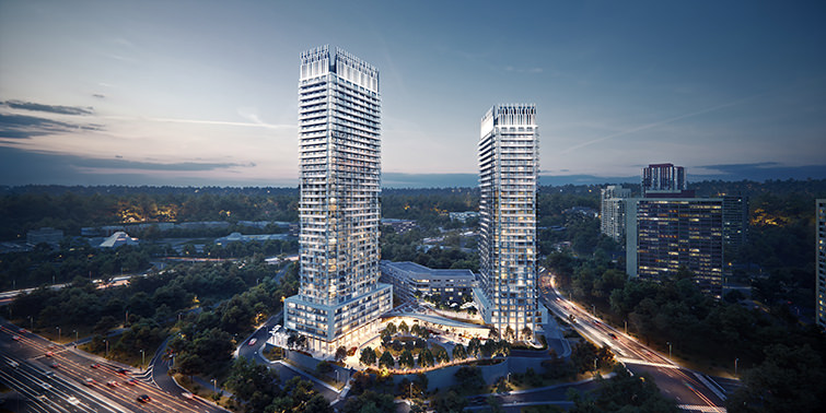 Architectural visualization of two skyscrapers at Eglinton Avenue, Toronto, Canada