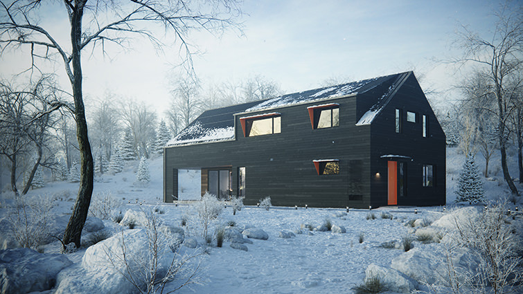 Post-editing of architectural visualization of private house in Palo Alto, California, USA