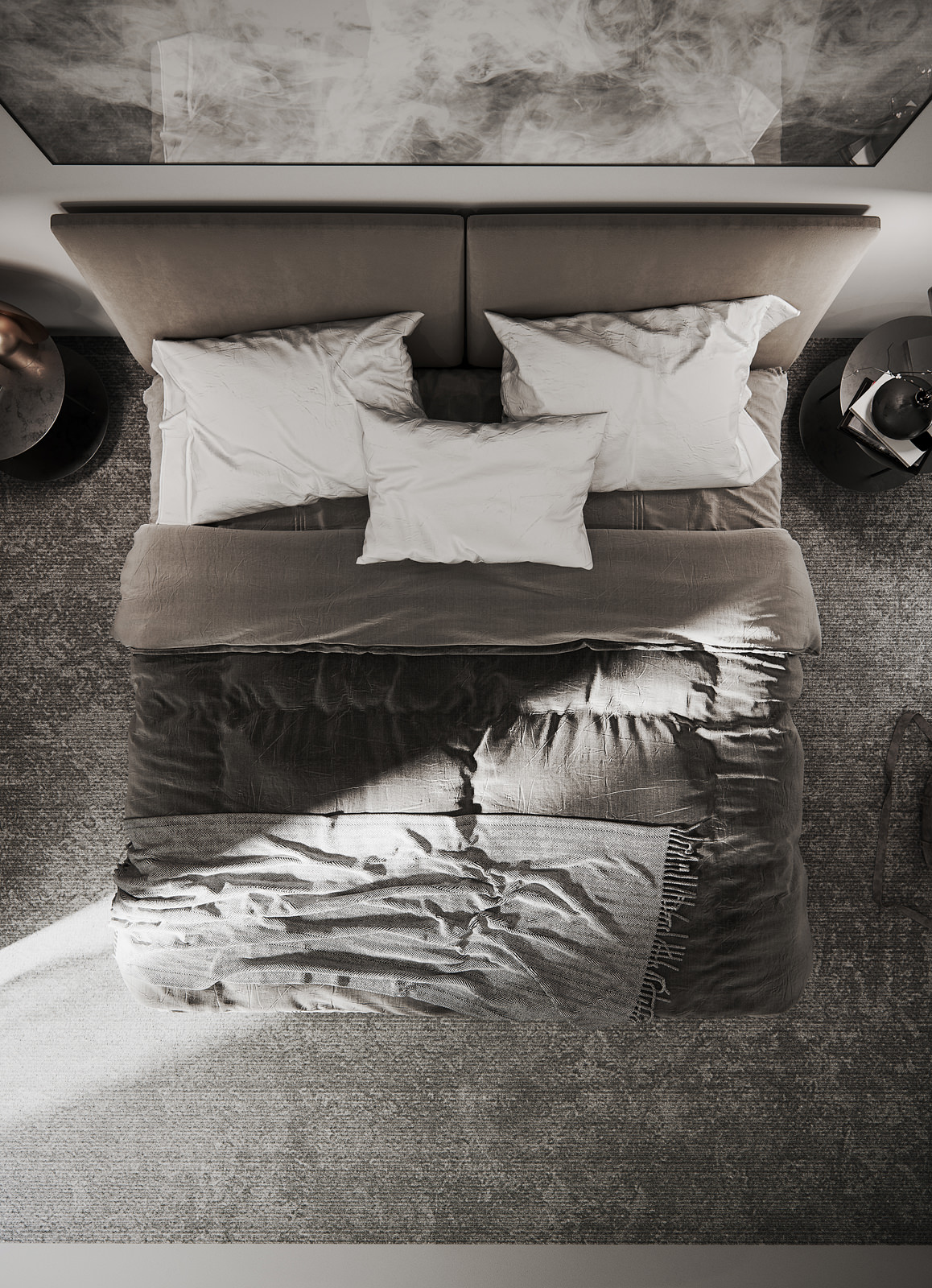 3D visualization of a bedroom captured from above depicting made-up bed with three white flax pillows, gray bedspread, smoke artwork in a black metal frame and two bedside tables