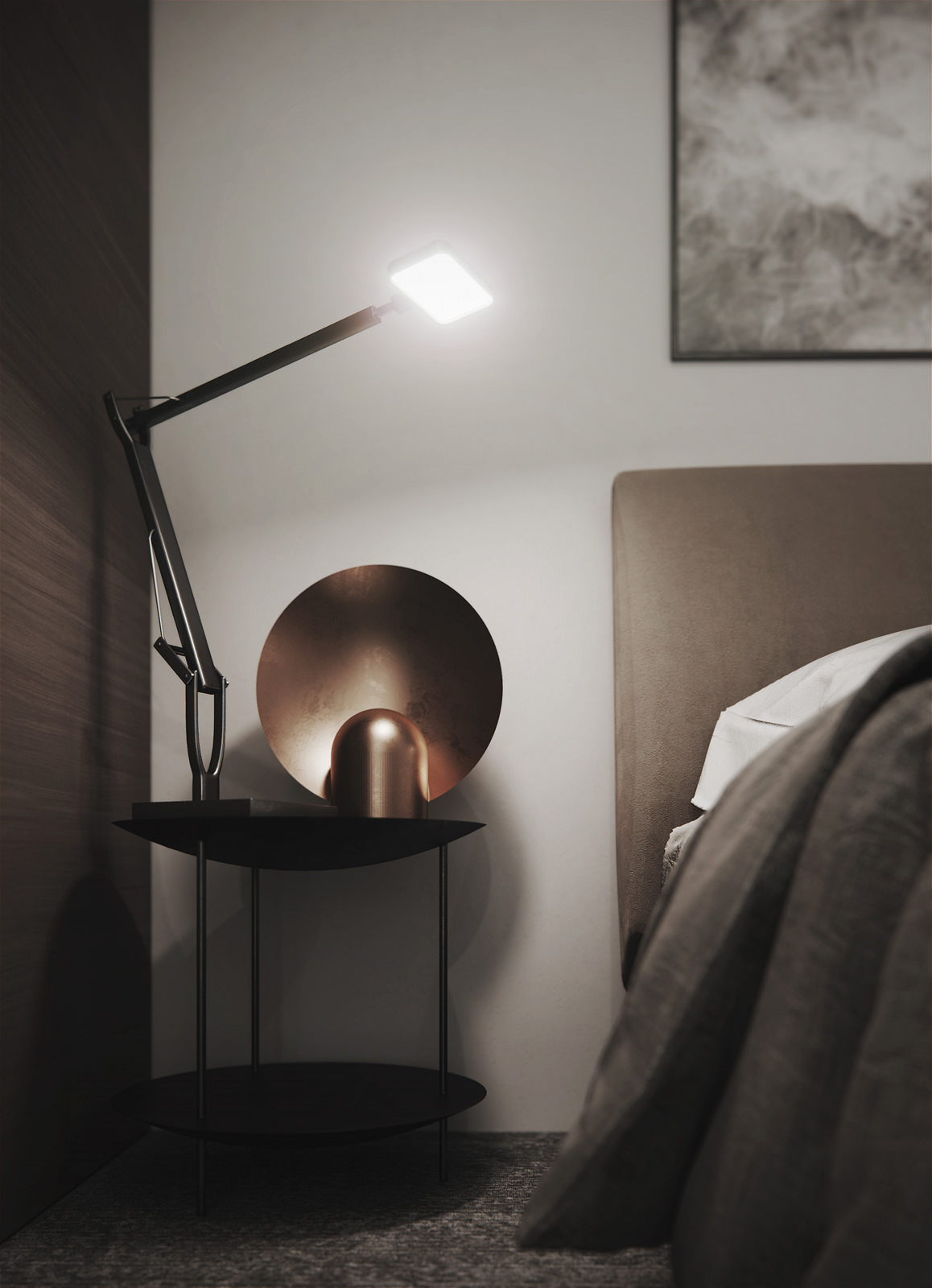 3D close-up visualization of a side table on the left to the bed with polished stainless steel anglepoise and pink copper feature light