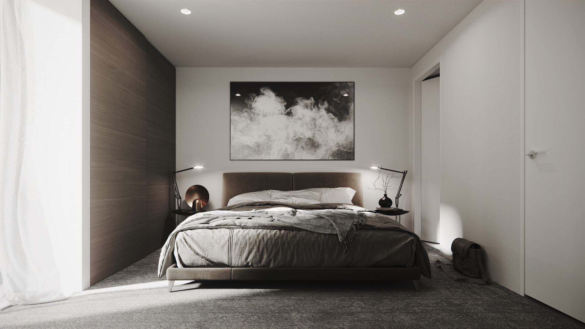 Interior 3D visualization of a master bedroom in a gray and white color palette, featuring smoke artwork, designer bedside tables, petite benches in a black glossy vase and minimalistic brass reading-lamps