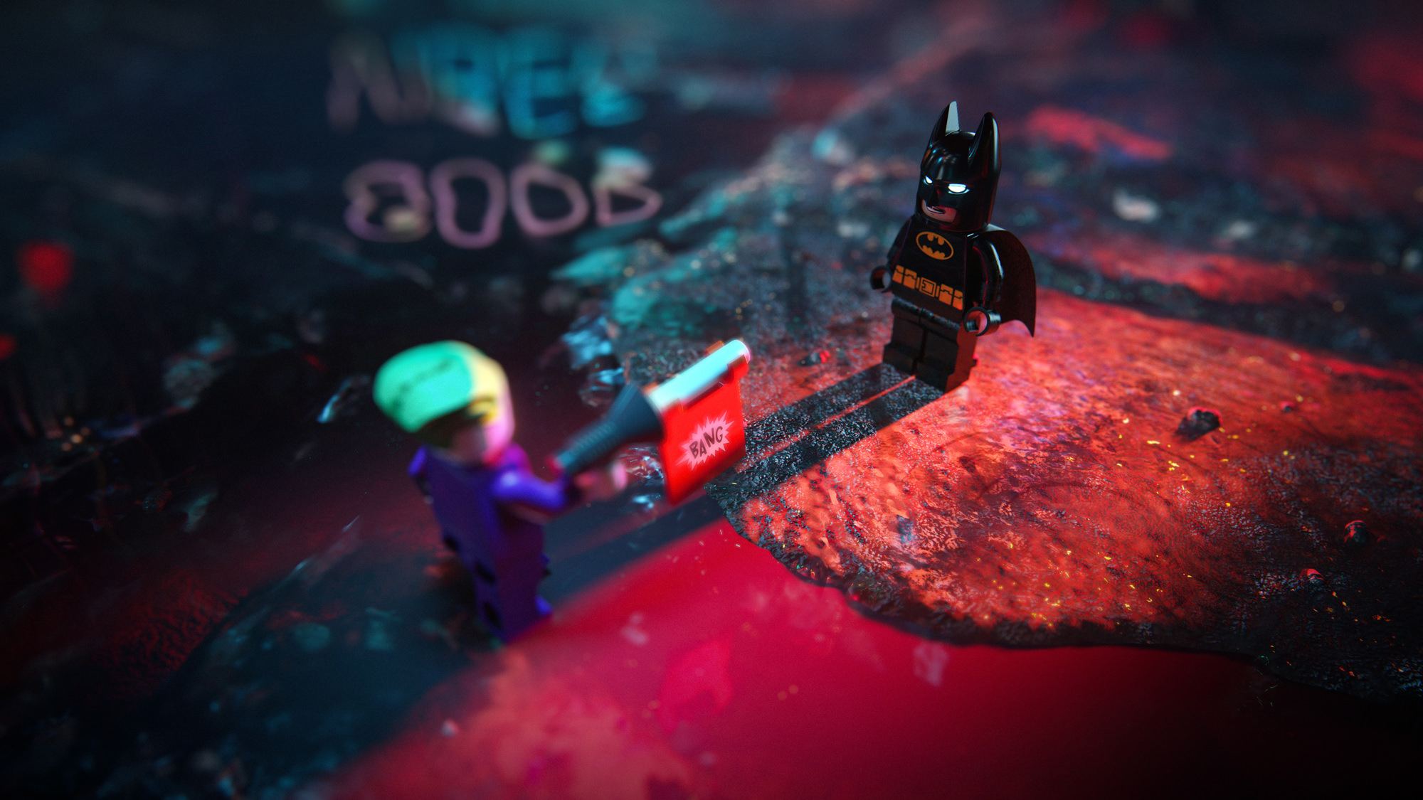 LEGO Batman visualization facing Joker toy rendering inserted into 3D night city visualization