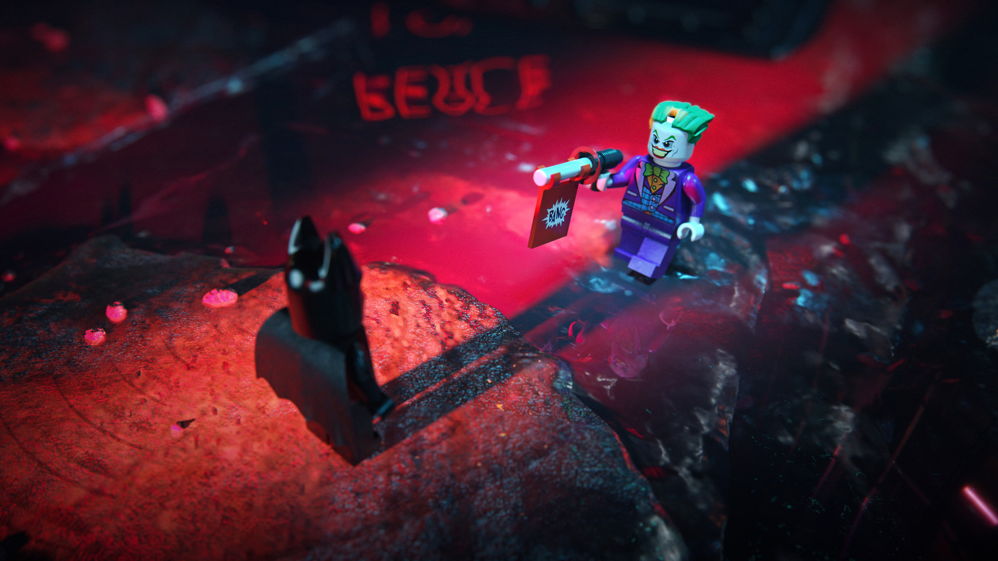 3D LEGO Joker visualization in combat mode with a gun pointed at toy Batman rendering in the night city surroundings