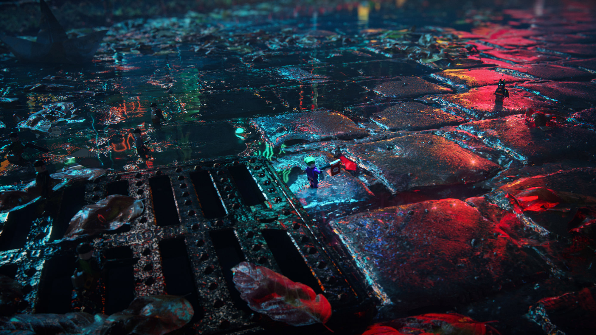 Night city 3D toy rendering with Batman and Joker visualized as mini LEGO action figures, reflecting in the wet paving next to the sewage