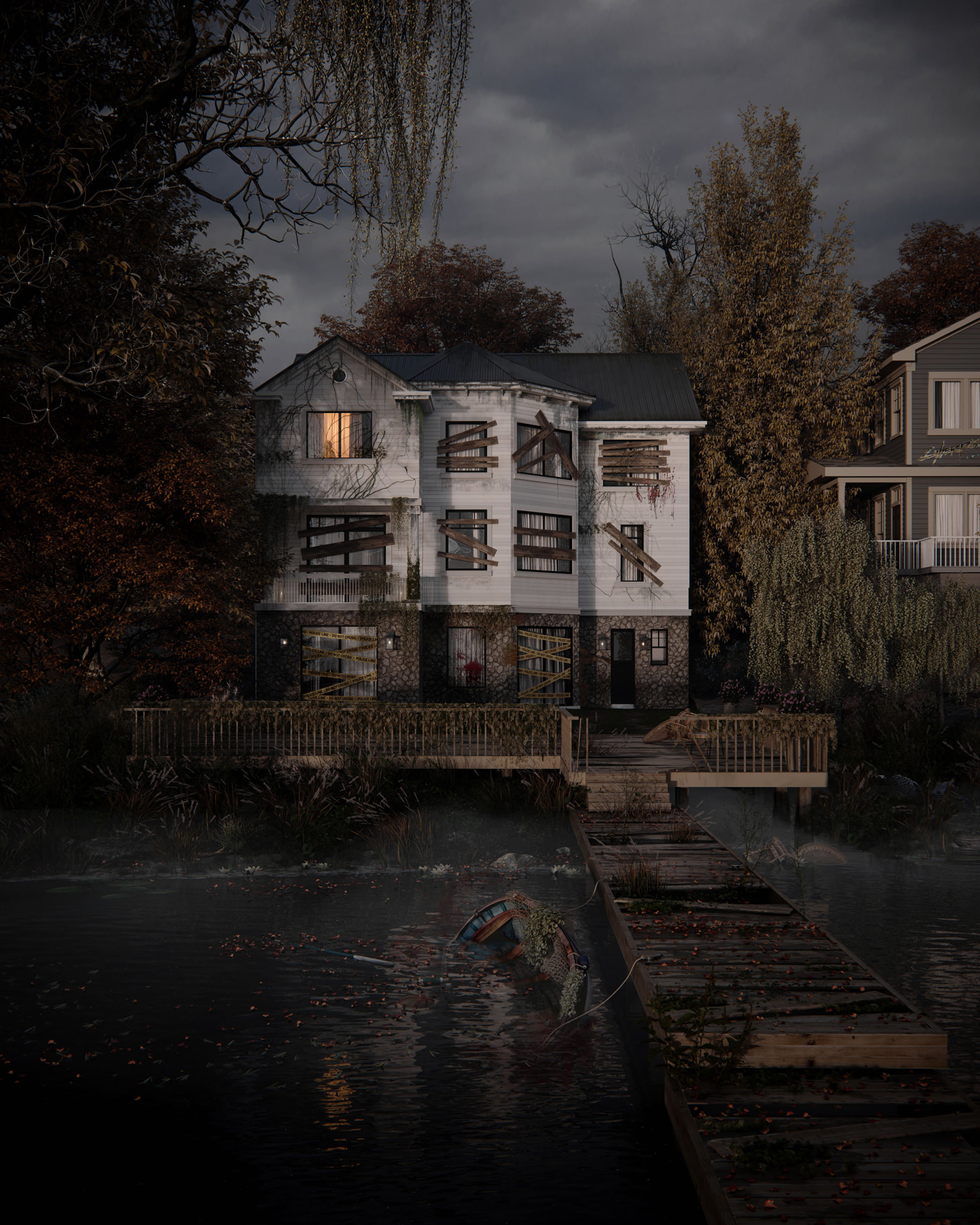 3D exterior house visuaization with spills of blood and nailed up windows and doors, boat drowned in a lake near the dilapidated pier