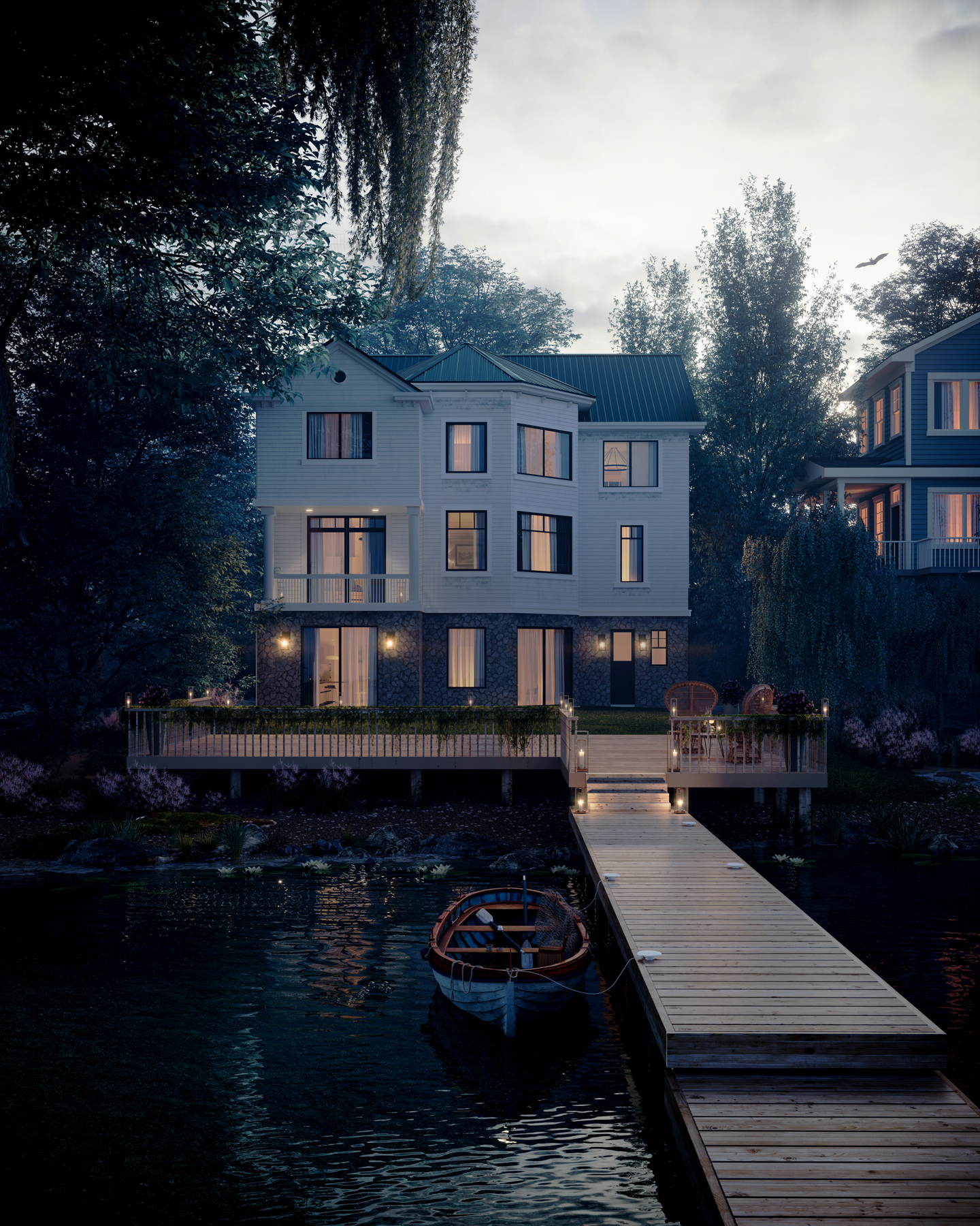 Architectural 3D house rendering with fully furbished interiors and a boat tied at the pier