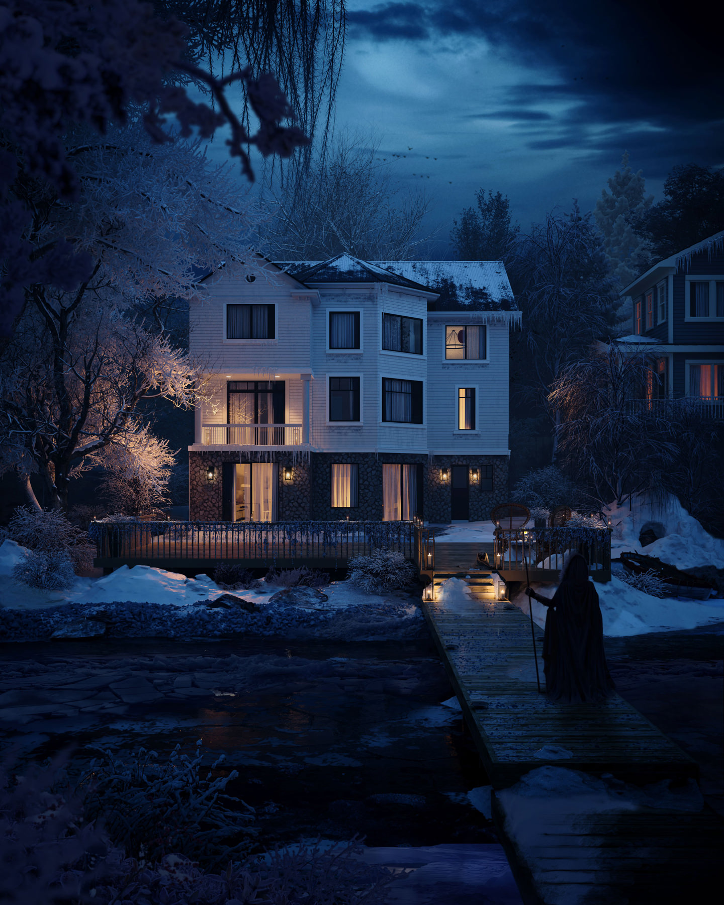 Photorealistic 3D exterior rendering of a house at night with man approaching the building having disembarked from the boat