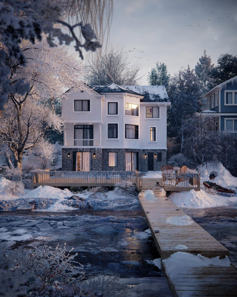 Photorealistic house 3D rendering on a chilly winter morning with a dog warming himself on the porch
