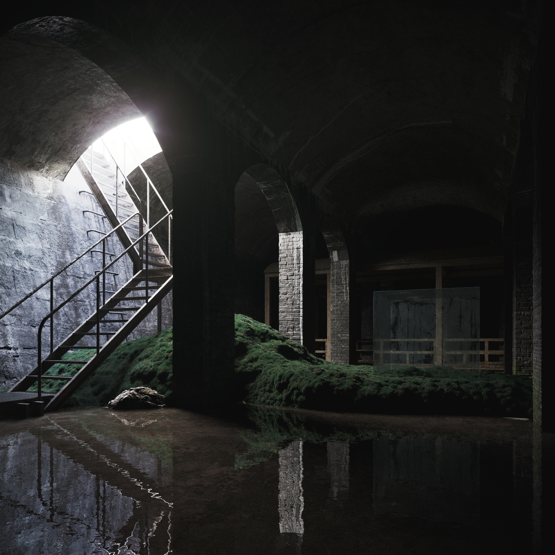 3D render of a dark underground hallway supported by brick arches standing in the water