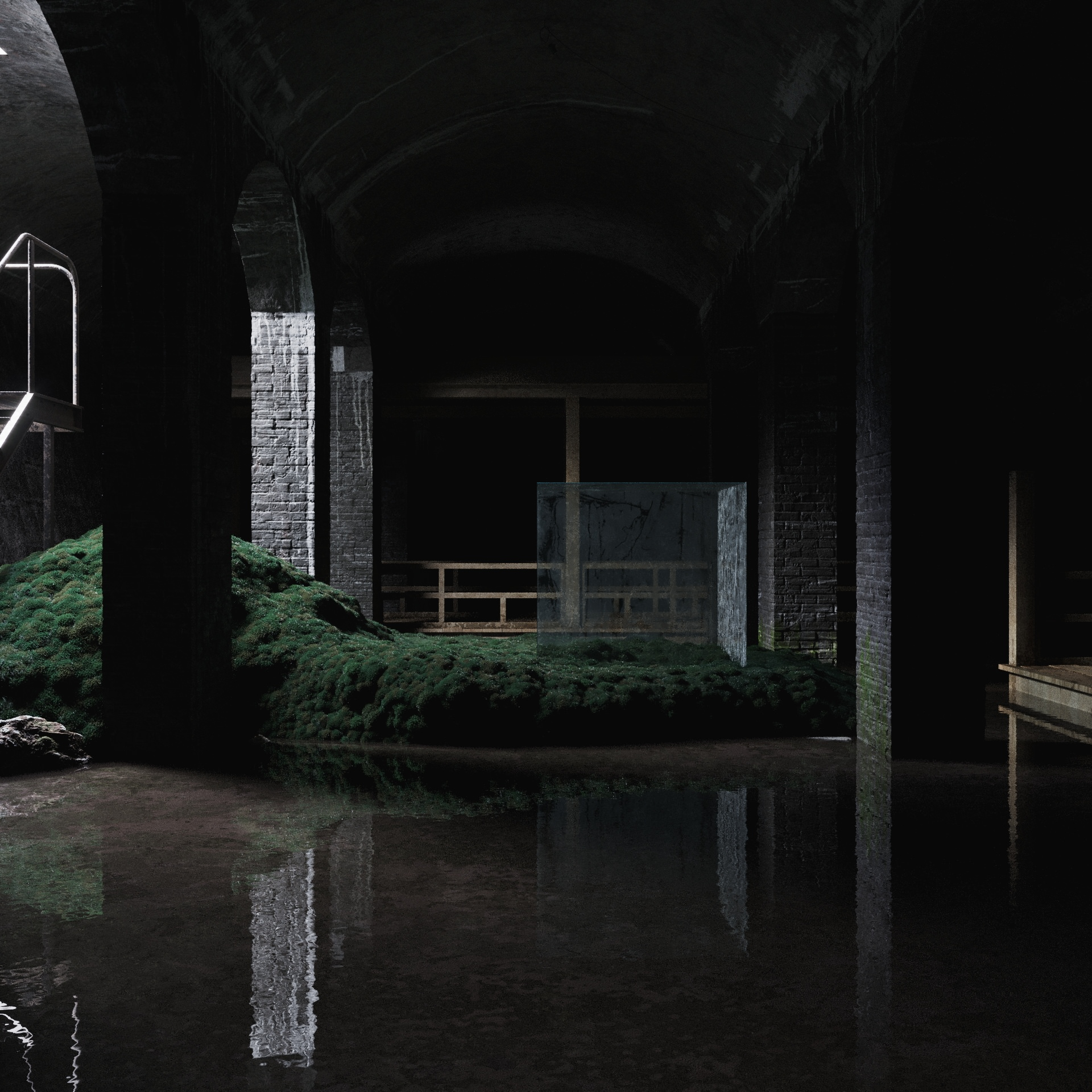 Interior 3D visualization of art gallery Cisternerne situated in the underground water reservoir in Copenhagen, Denmark, filled with natural light, moss and water, featuring a freestanding glass cube