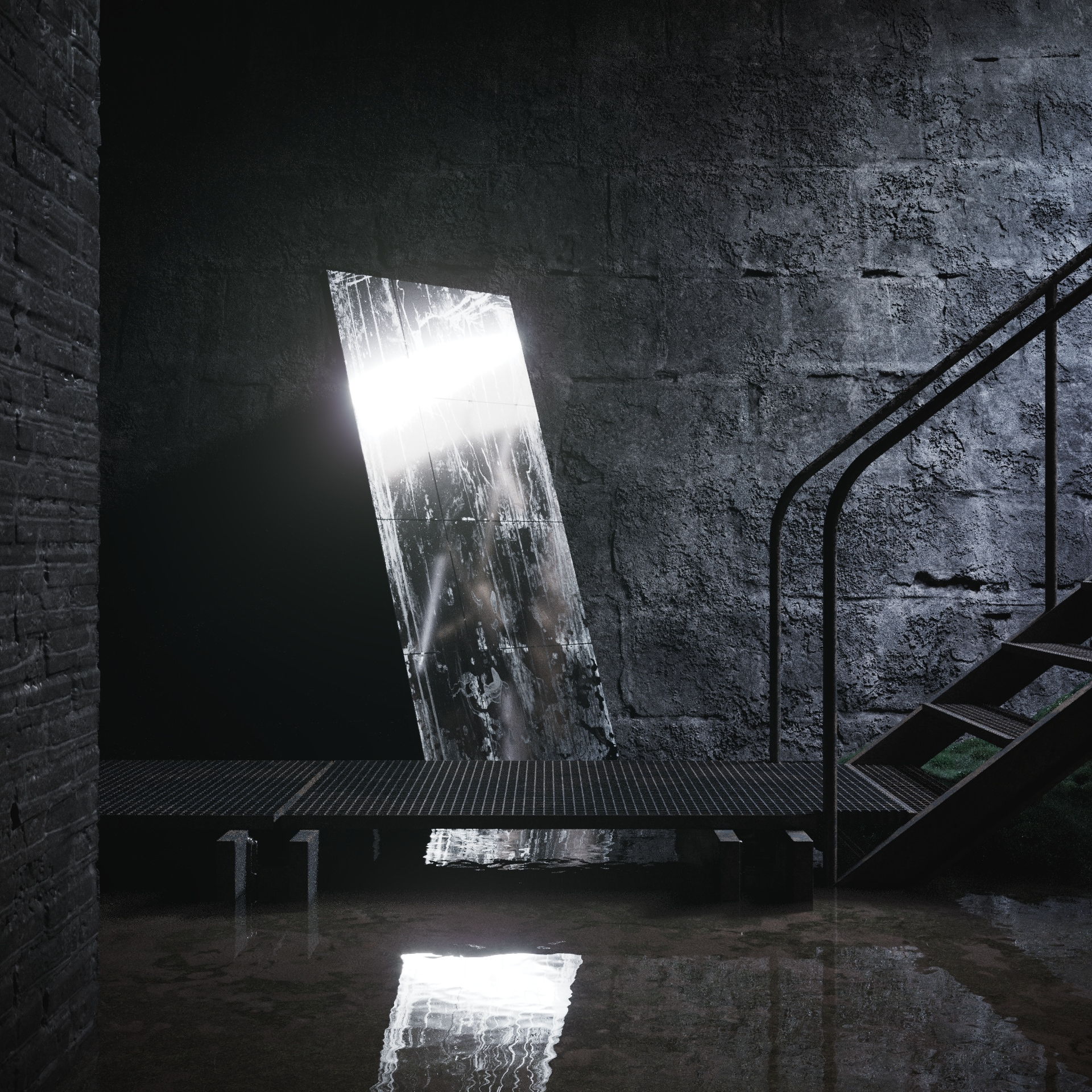 3D visualization of a mirror standing in the water behind the steel bridge, Cisternerne art space, Copenhagen, Denmark
