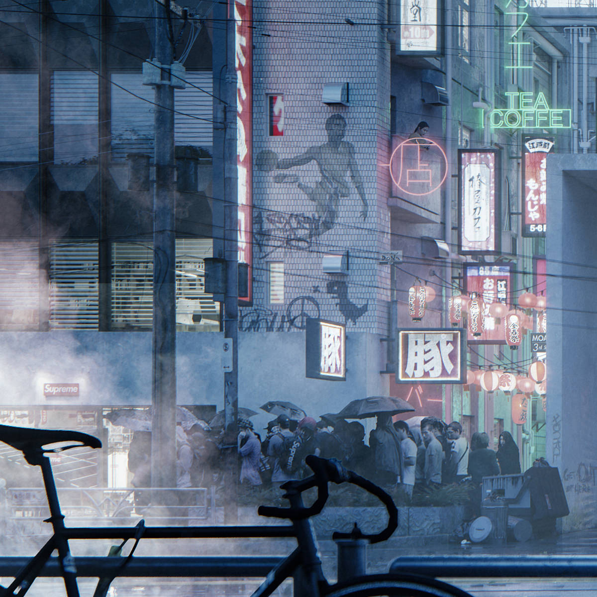 3D close-up render on a Japanese crowd entering the subway in Tokyo surrounded by multiple glowing store signs and paper lanterns leading the way to chinatown