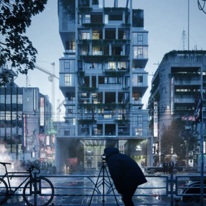 Exterior Visualization of Hi-Tech Condominium Tower in Tokyo