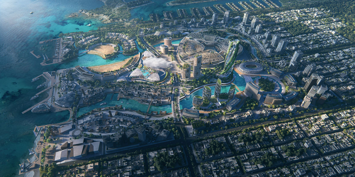 Photo real bird-eye view exterior 3D rendering and animation video of big city on island in United Arabian Emirates