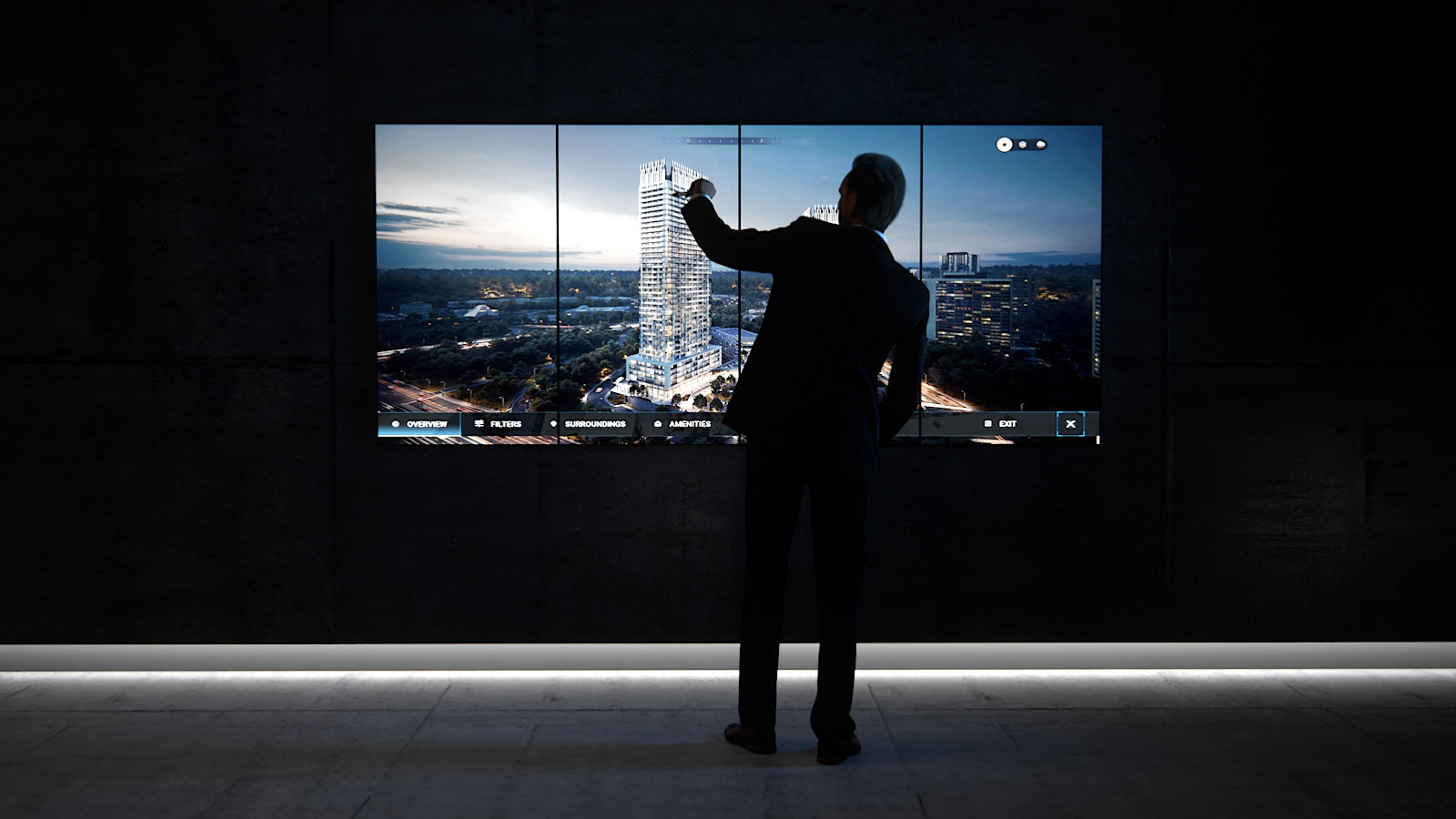 Man interacts with real estate presentation on a touch screen