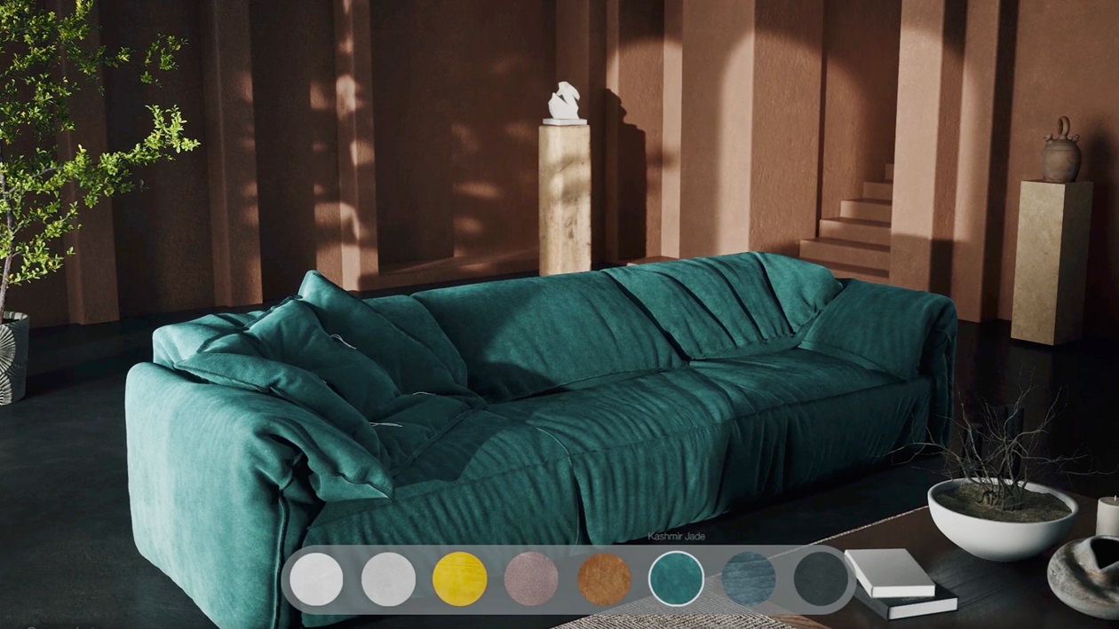 A 3D rendered interior with chestnut-brown walls with the main focus on a Kashmir jade lounge sofa and a finishing selection tool that enables a viewer to see different material and color options of the sofa