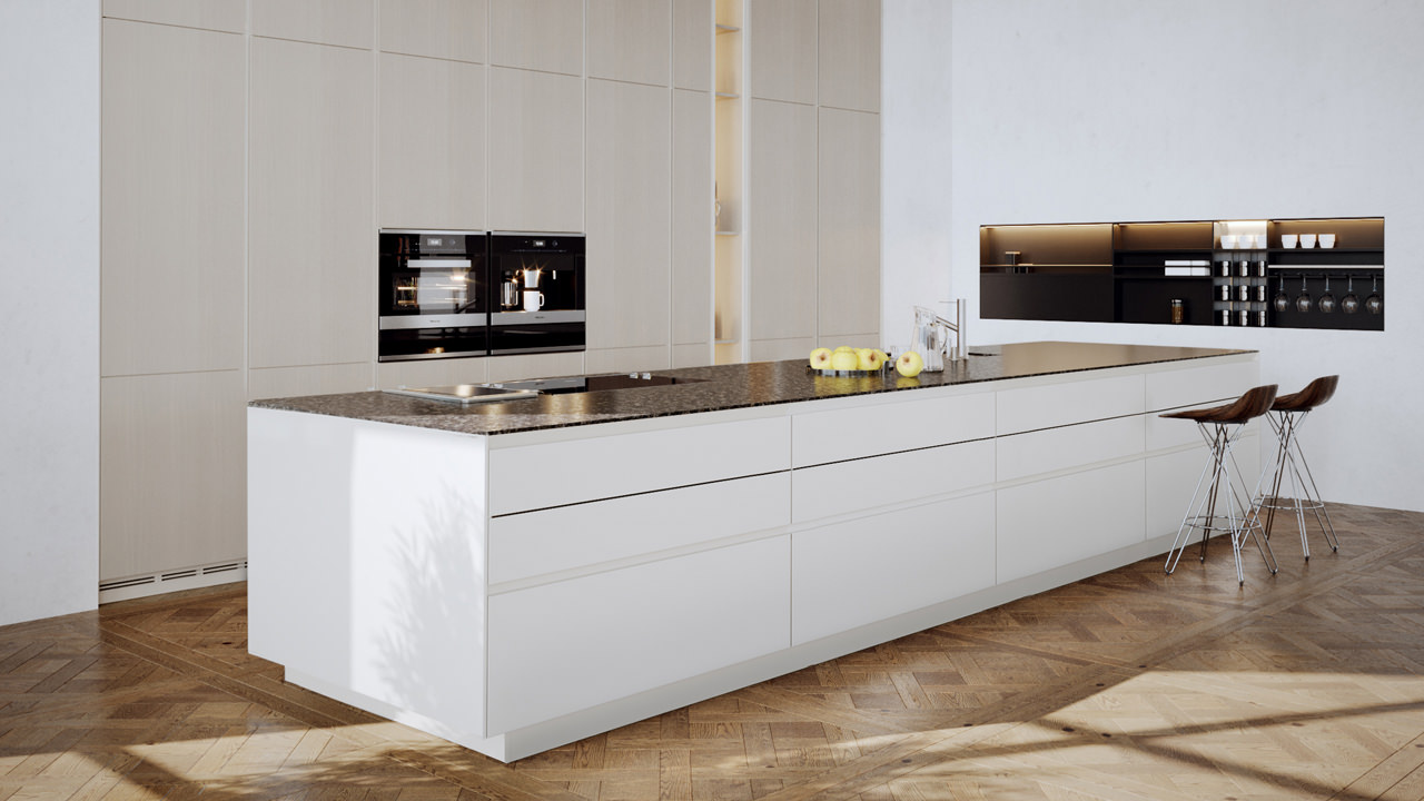 A light-colored kitchen furniture collection comprised of cream floor-length modular cabinets and white base cabinets with a brownish benchtop