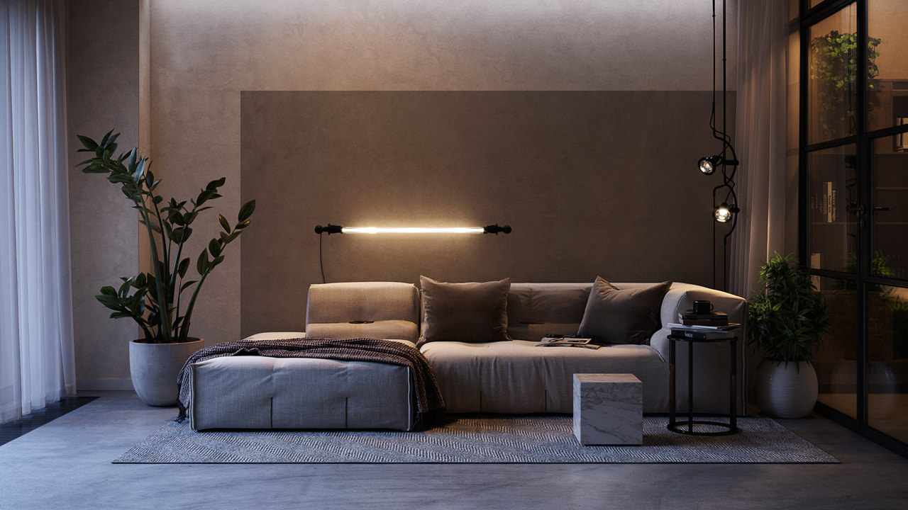 Sitting room configuration with a wall light fitting of round shape and an off-white dope lamp on the floor created with the help of CGI technology