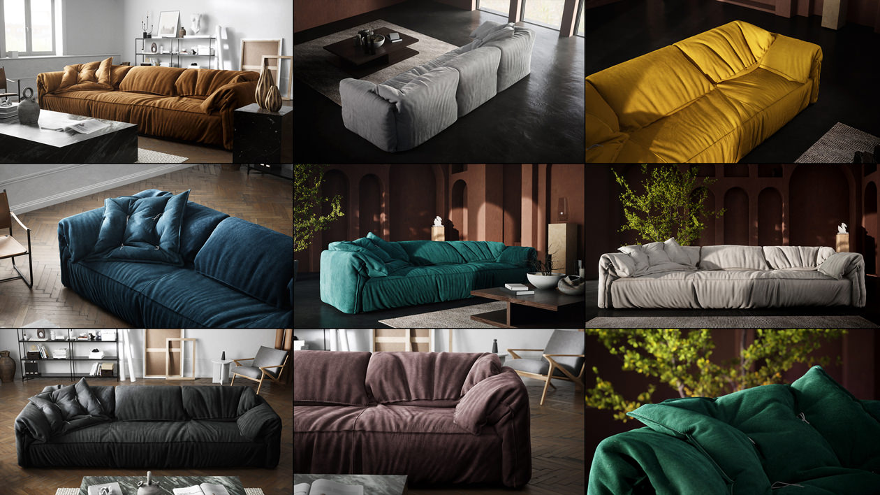 The image consists of nine product renderings of the same sofa with a matching flat cushion in different finishes rendered in two types of interior