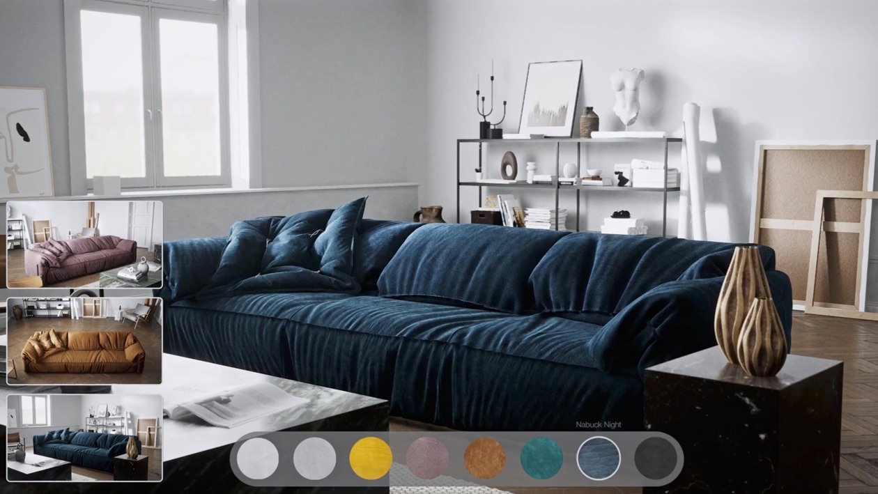 The main focus of the rendering is on a nu-buck night single cushion sofa fitted in a light interior, and on the left corner, there are three photo real screenshots of the same sofa in different colors and materials in the same interior
