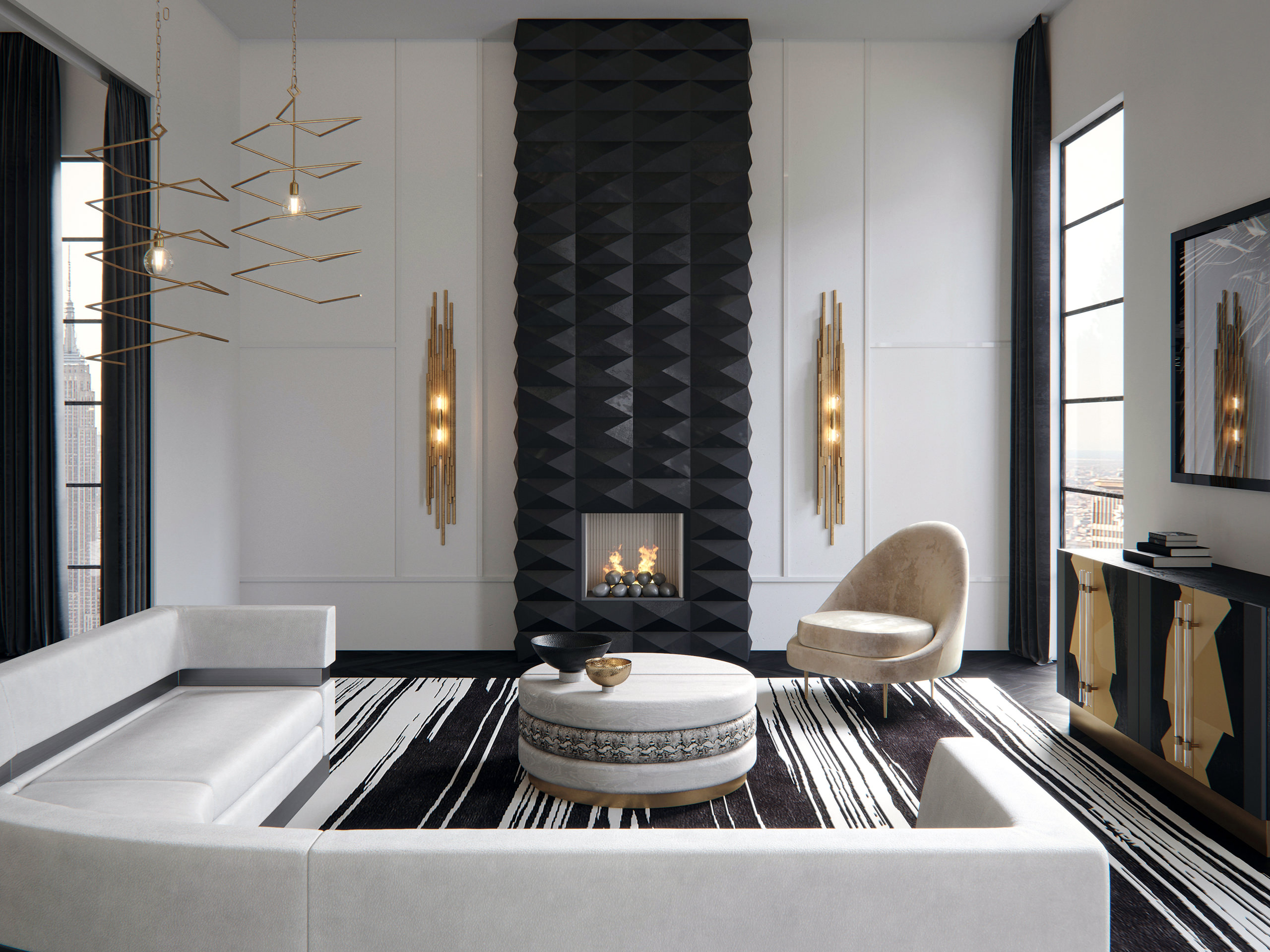 3D visualization of a modern show room apartment in New York carried out in black and white color palette with golden accents, with main emphasis on the designer pieces of furniture: sofas, armchairs, cabinets, lighting fixtures