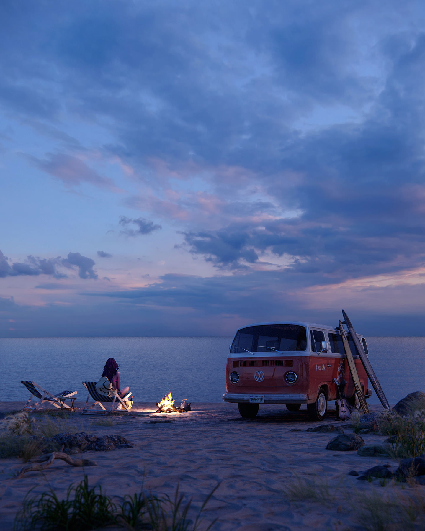 An eye-level dusk 3D visualization of the ocean and the sand beach where a woman is sitting crosslegged on the lounge chair near the cozy campfire and her faithful companion - her red travel van - enjoying her vacation