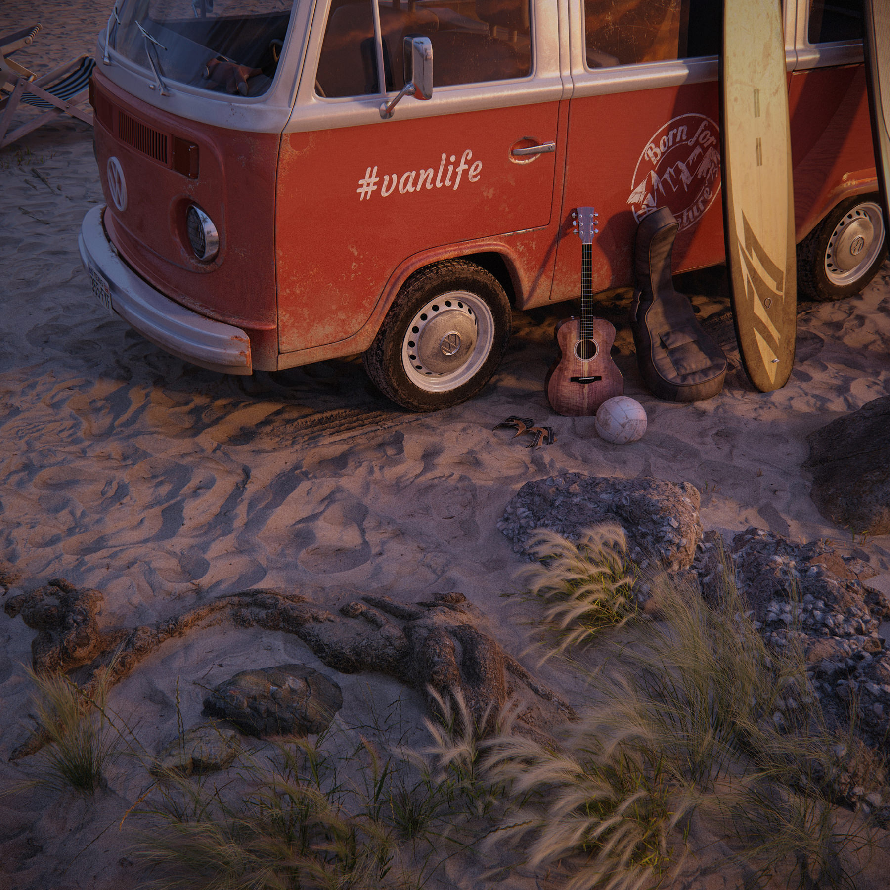 A 3D rendered close-up of a red and white Volkswagen camp van parked on the sand beach with surfboards and an acoustic guitar leaning on its left wing