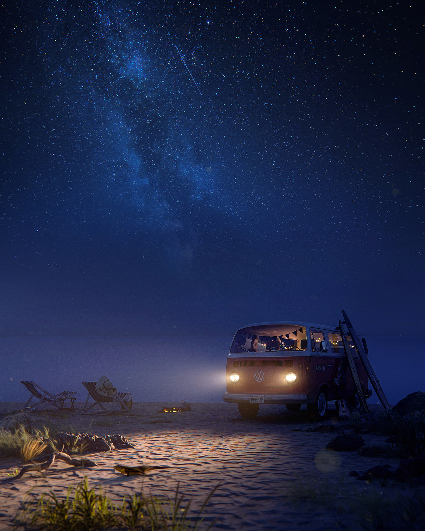 3D rendering of a red vintage van with headlamps illuminating the sand beach under the sky full of stars