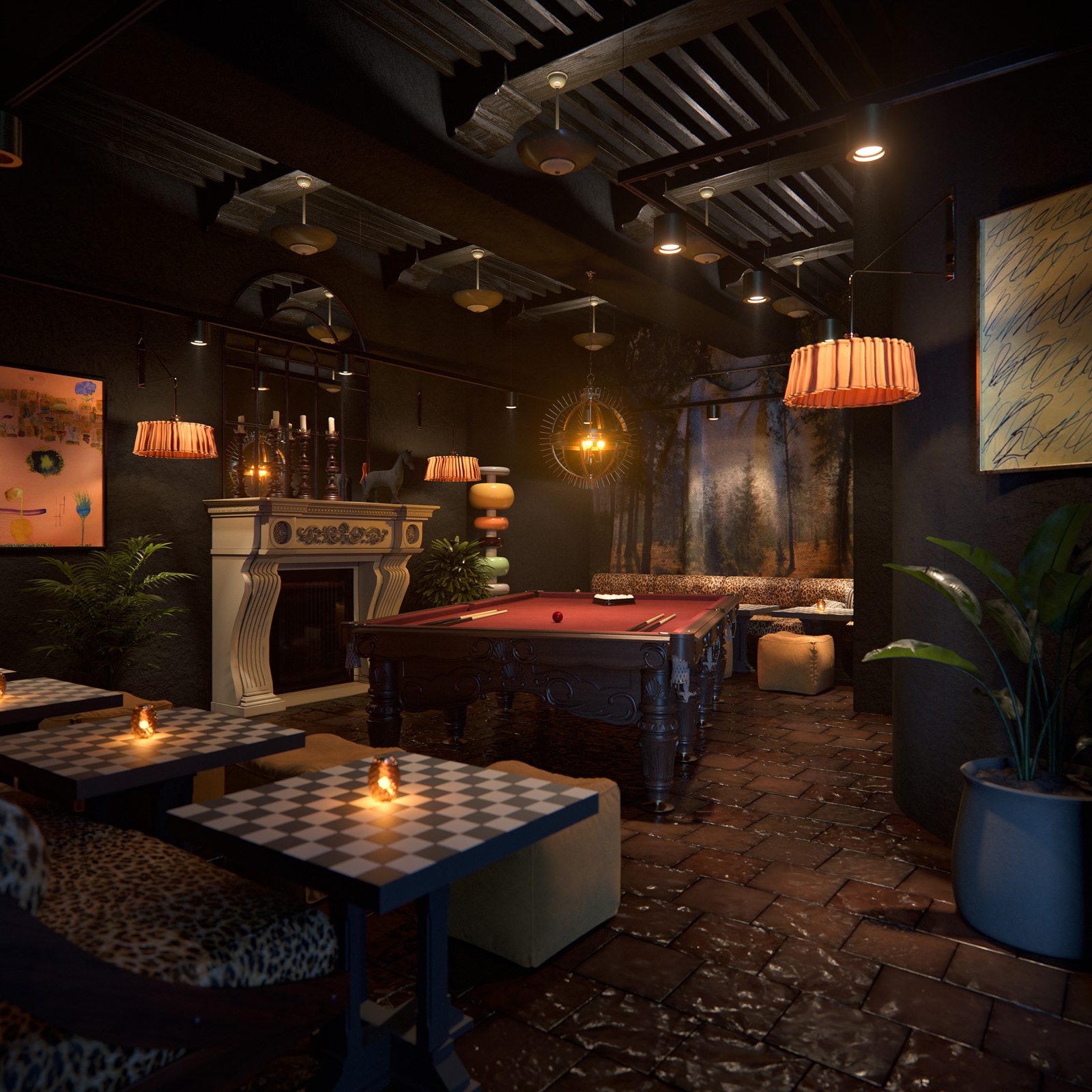 3D visualization of a billiard room in Bodega Negra restaurant interior rendered in dark shades with dim lights and random furniture finishes, Doha city, Qatar