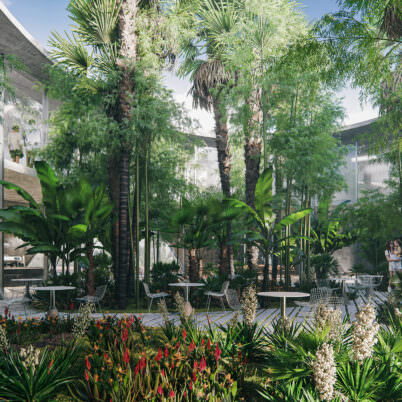 3D Visualization of Tropical Garden in Business Center, Perpignan, France