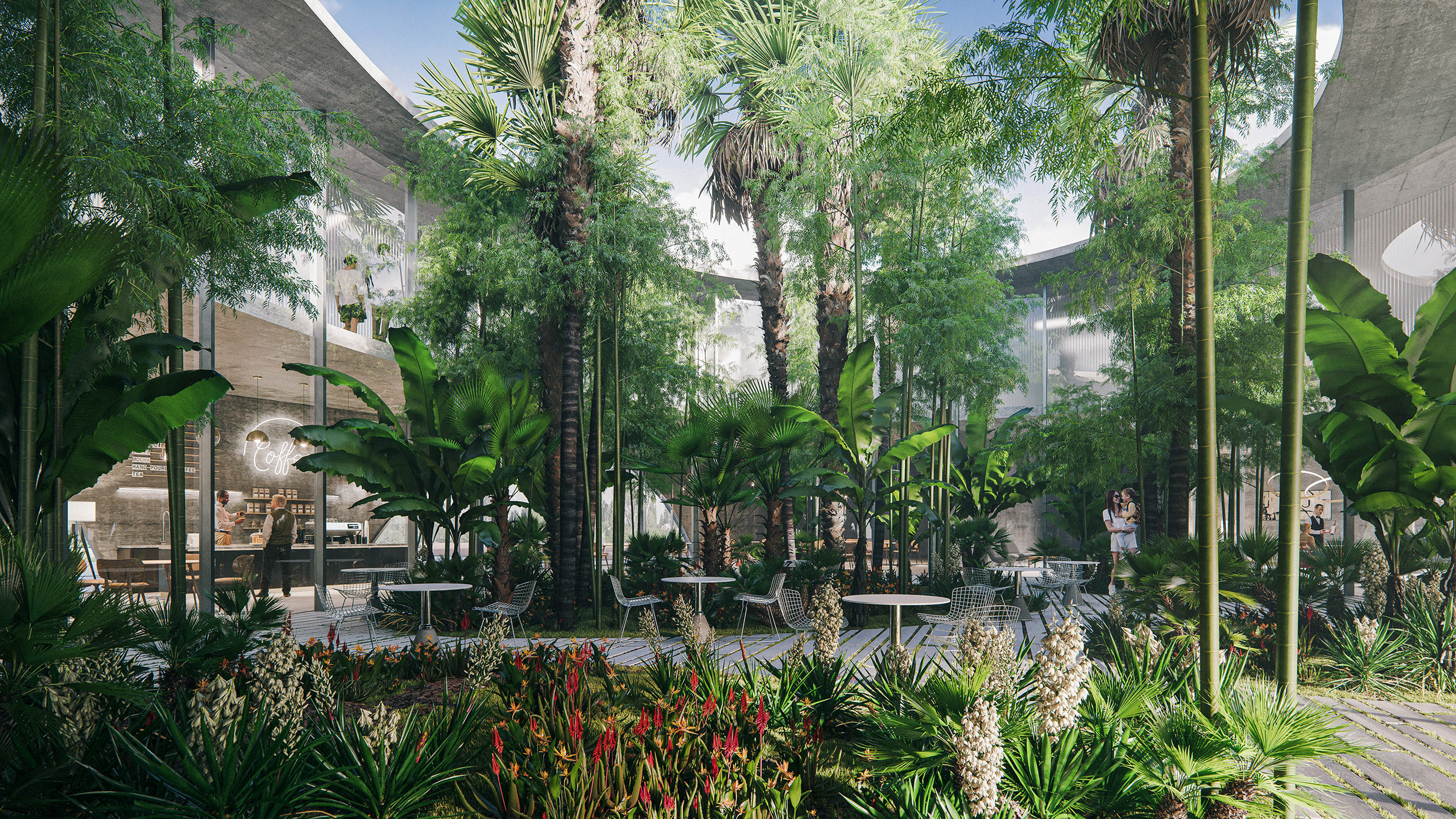 Architectural 3D visualization of a business center patio with several tropical garden islands surrounded by cafes and offices rendered under the open sky in the light of day