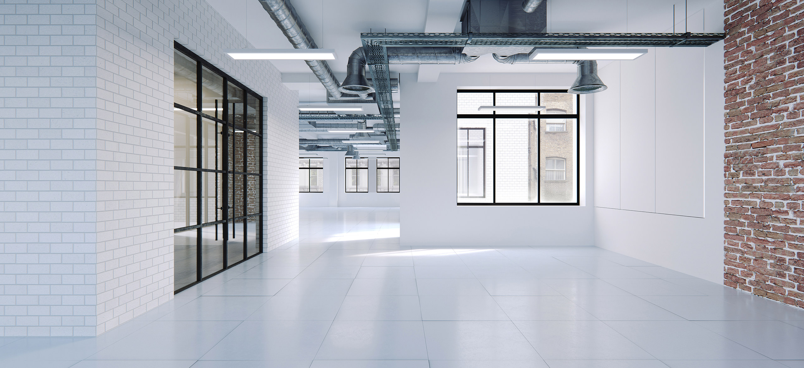 3d interior visualization of an empty spacious room with white walls and a grey metal vent system across the entire ceiling.