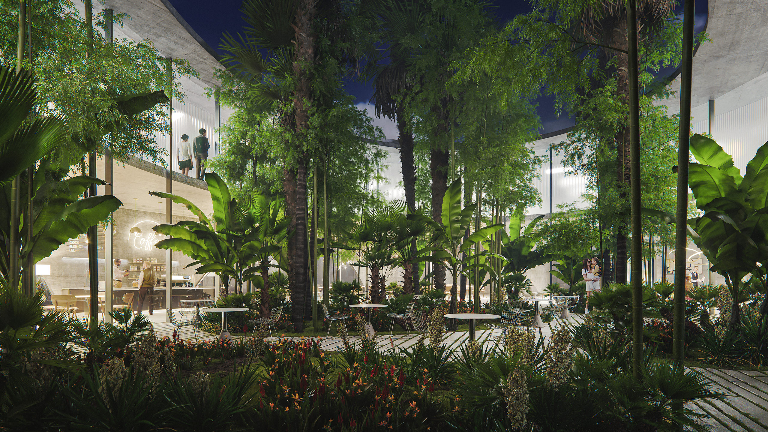 Architectural visualization of a tropical garden with various plant species rendered in a courtyard of a business center at night time