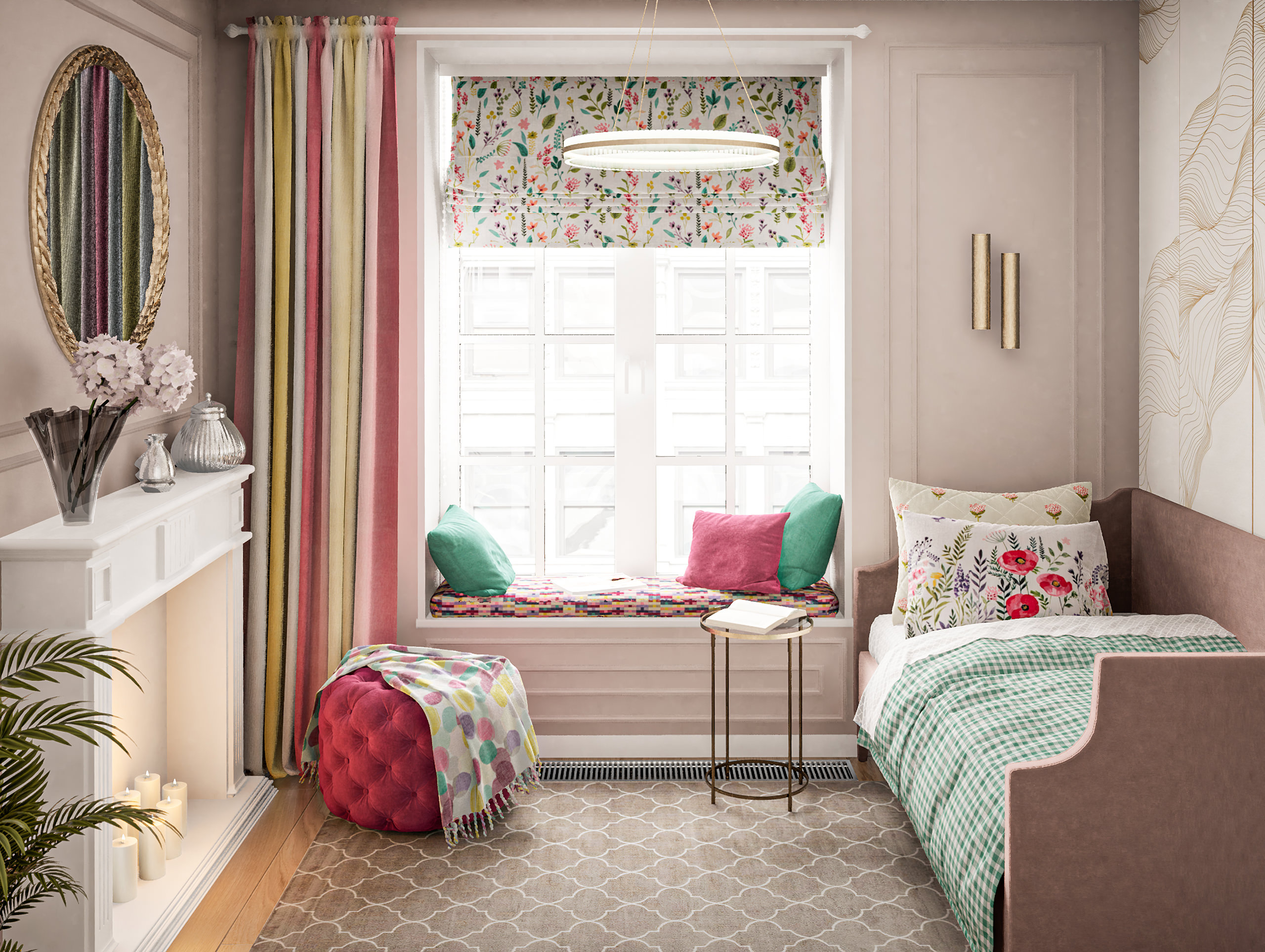 Colorful textile configuration in childroom