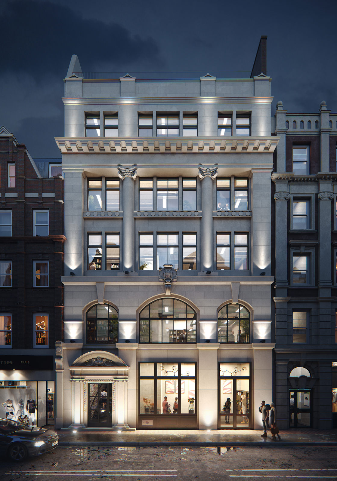 Dusk 3D rendering of an off-white renovated building in London lit with floodlights on all levels