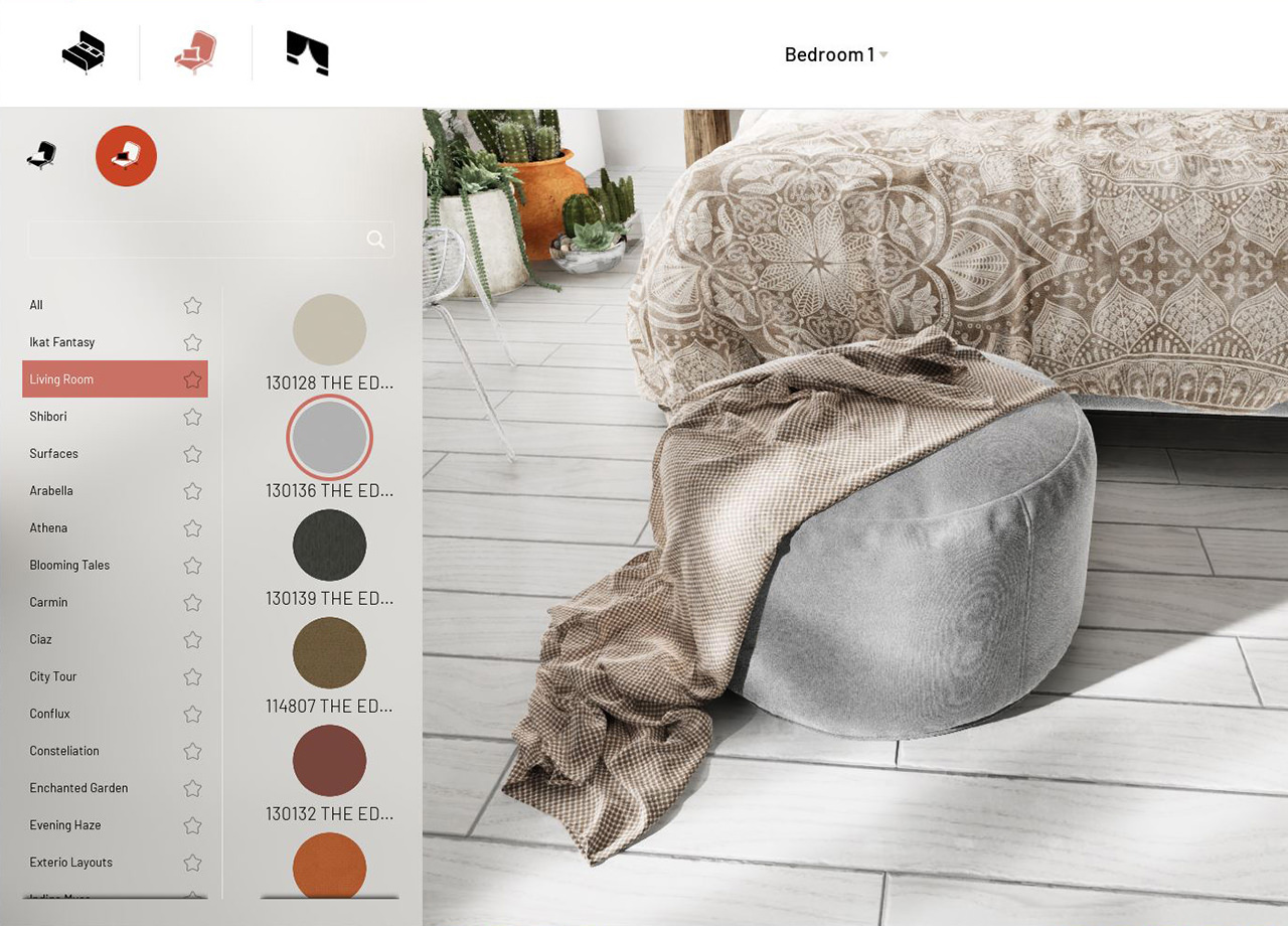 Fabric on a suede pouf changed from grey to beige inside product customization software