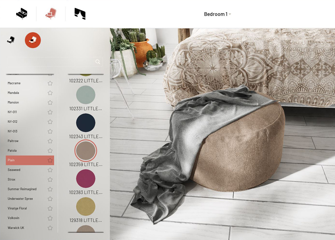 Suede pouf created inside the 3D configurator with grey textile applied