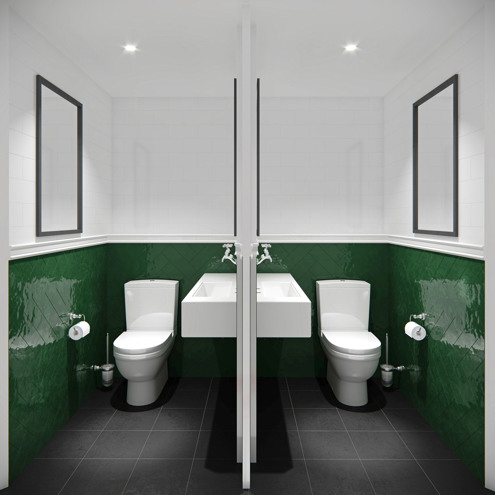 3D render of two identical restrooms with green and white walls and black tiled floor