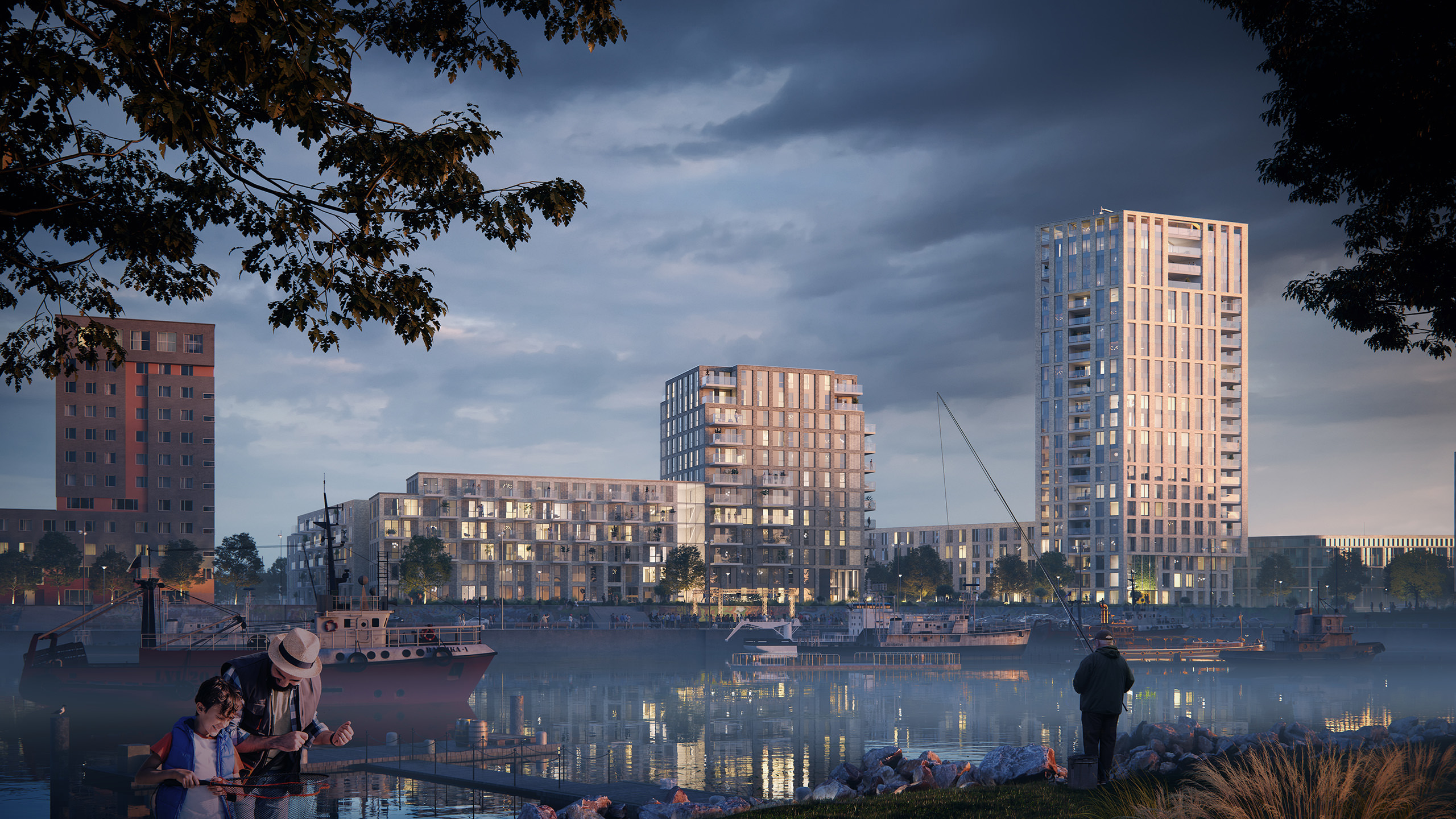 3D rendering of a residential development in the hub of Nijmegen with a river port in the foreground