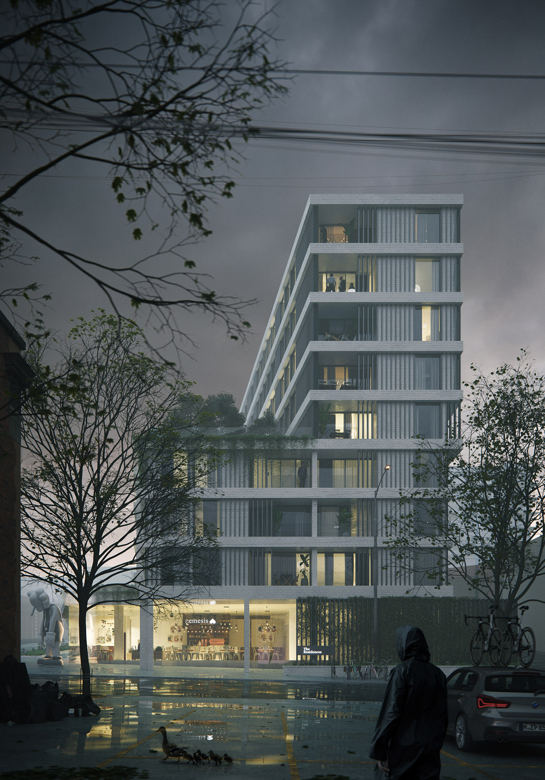 Urban 3D architectural render of apartment block in Vancouver, Canada in a foggy atmosphere with a person in the raincoat in the foreground and a mother duck with baby ducklings crossing the street nearby