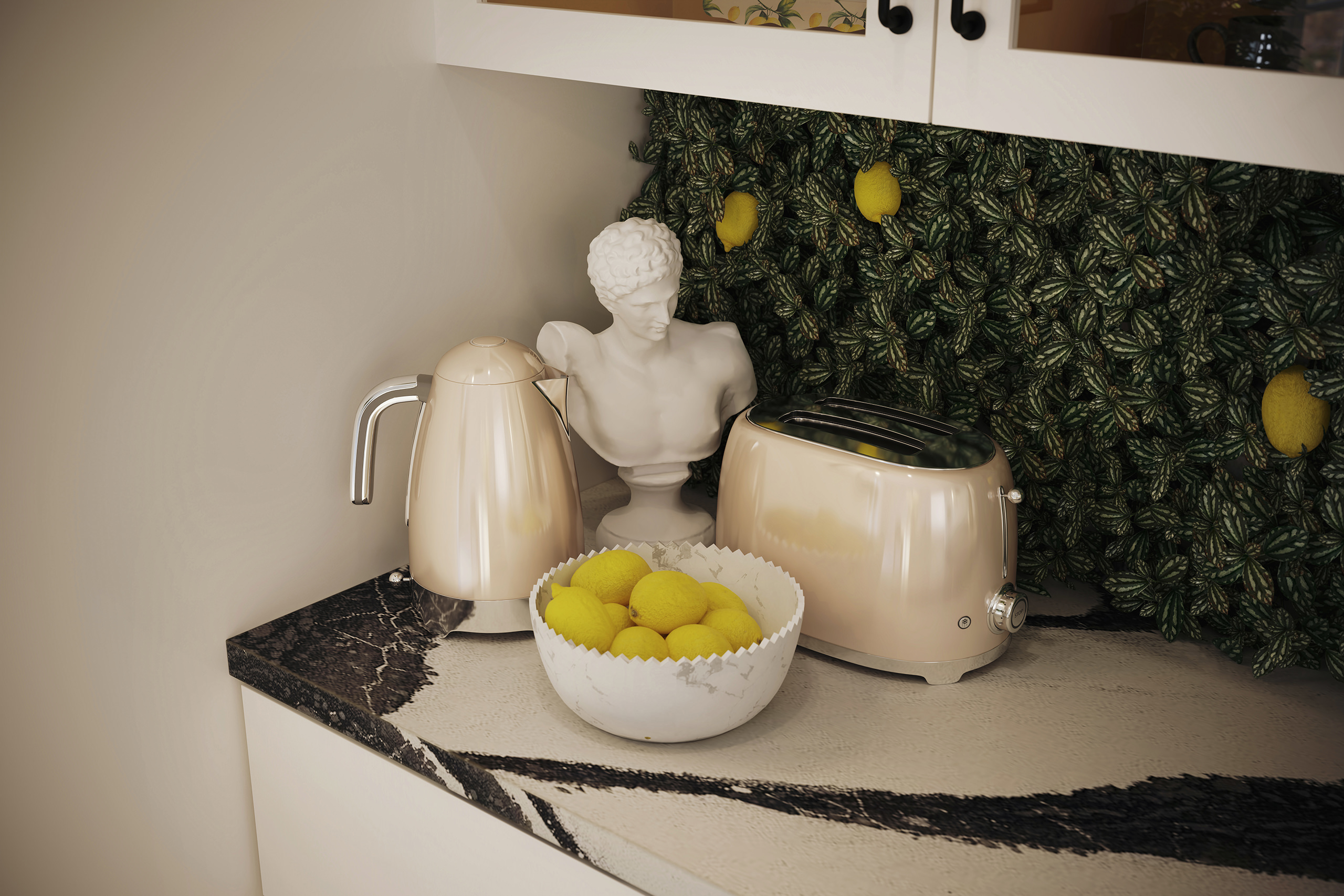 Close-up 3D view of a white bowl with lemons, antique torso statue and sleek kitchen appliances near the greem wall