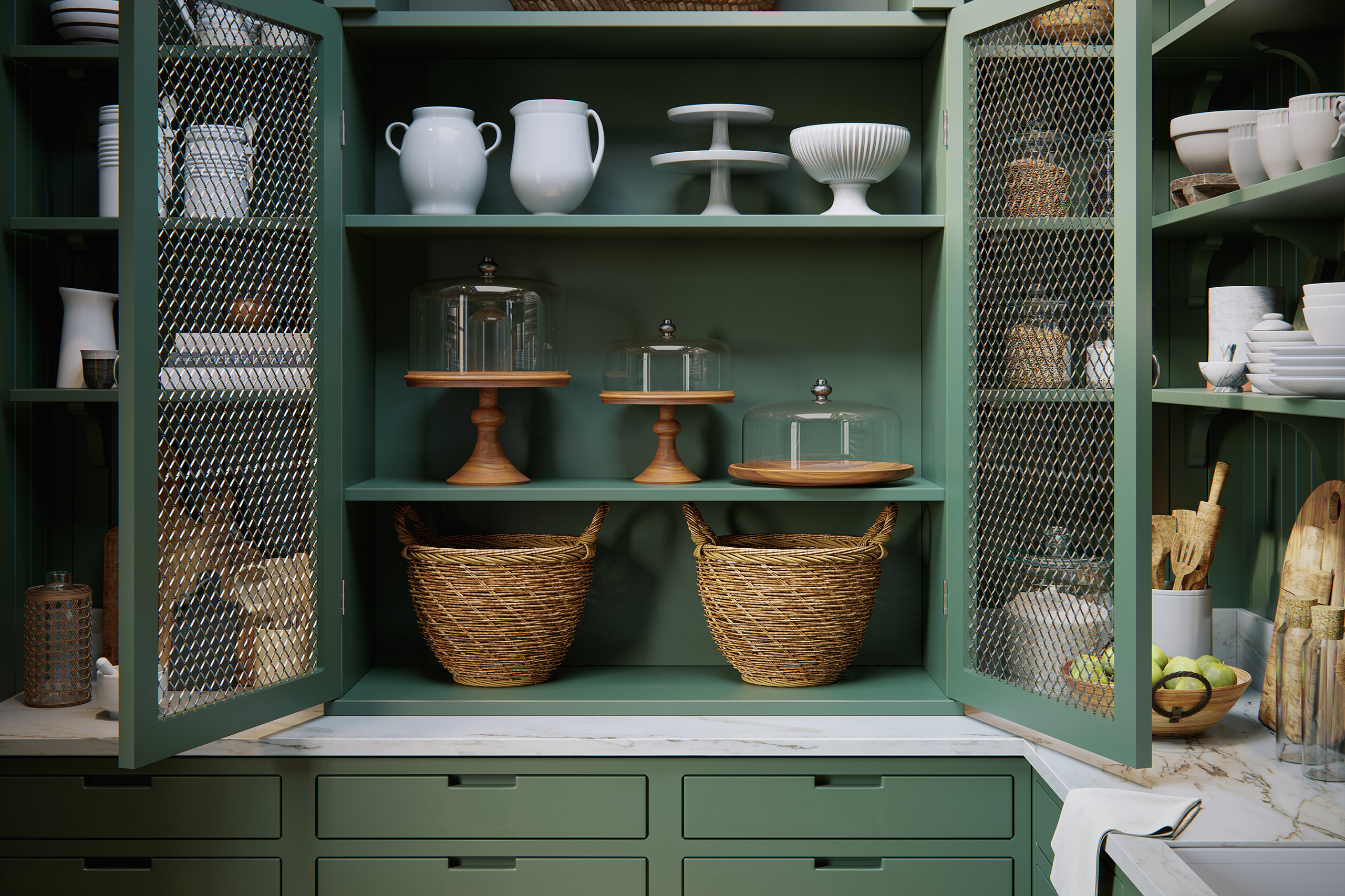 3D view of an open kitchen cabinet showing wicker baskets and crockery on the shelves