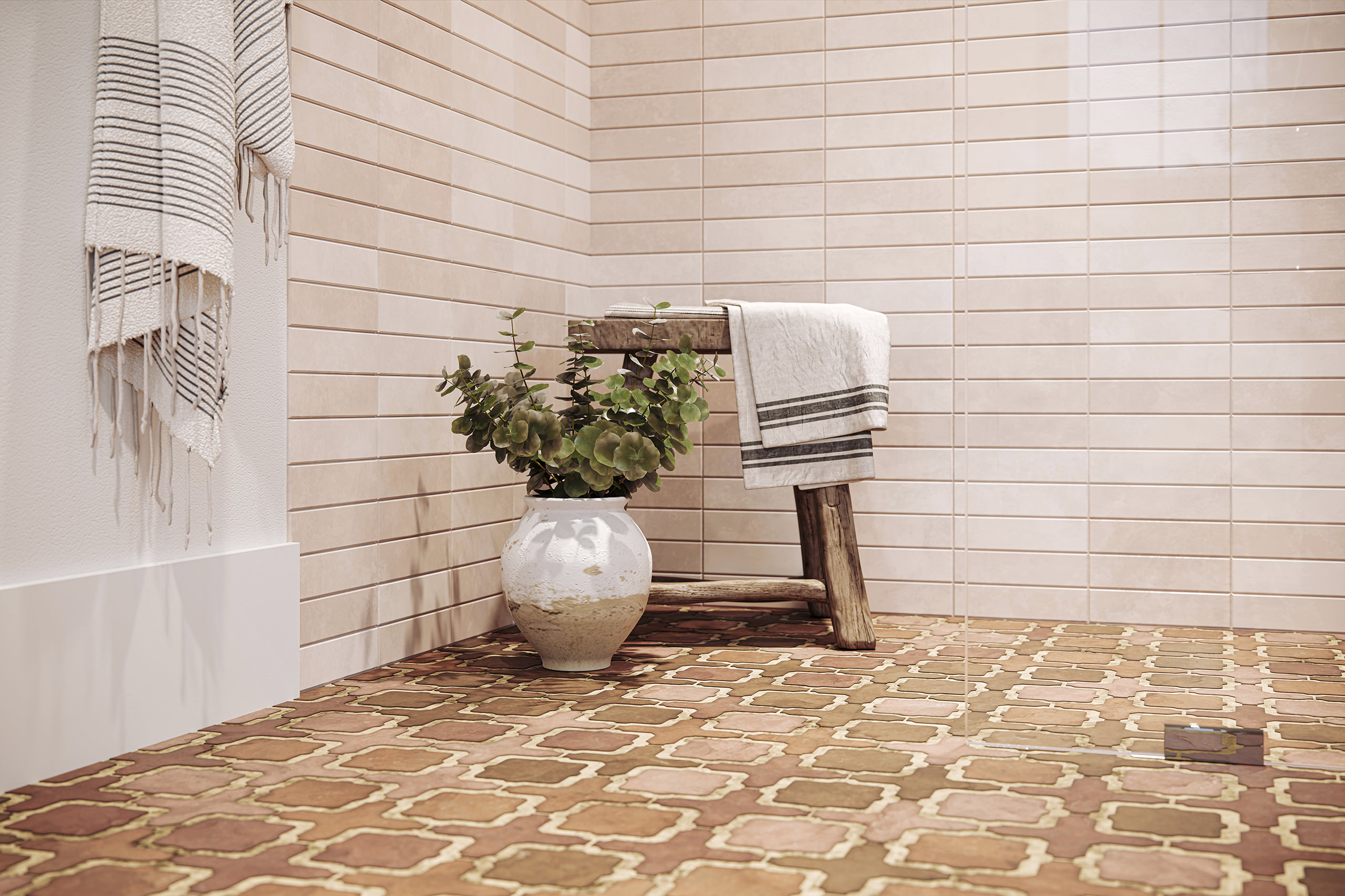 3D vignette of a potted plant and a low stool with a towel standing on a shower floor