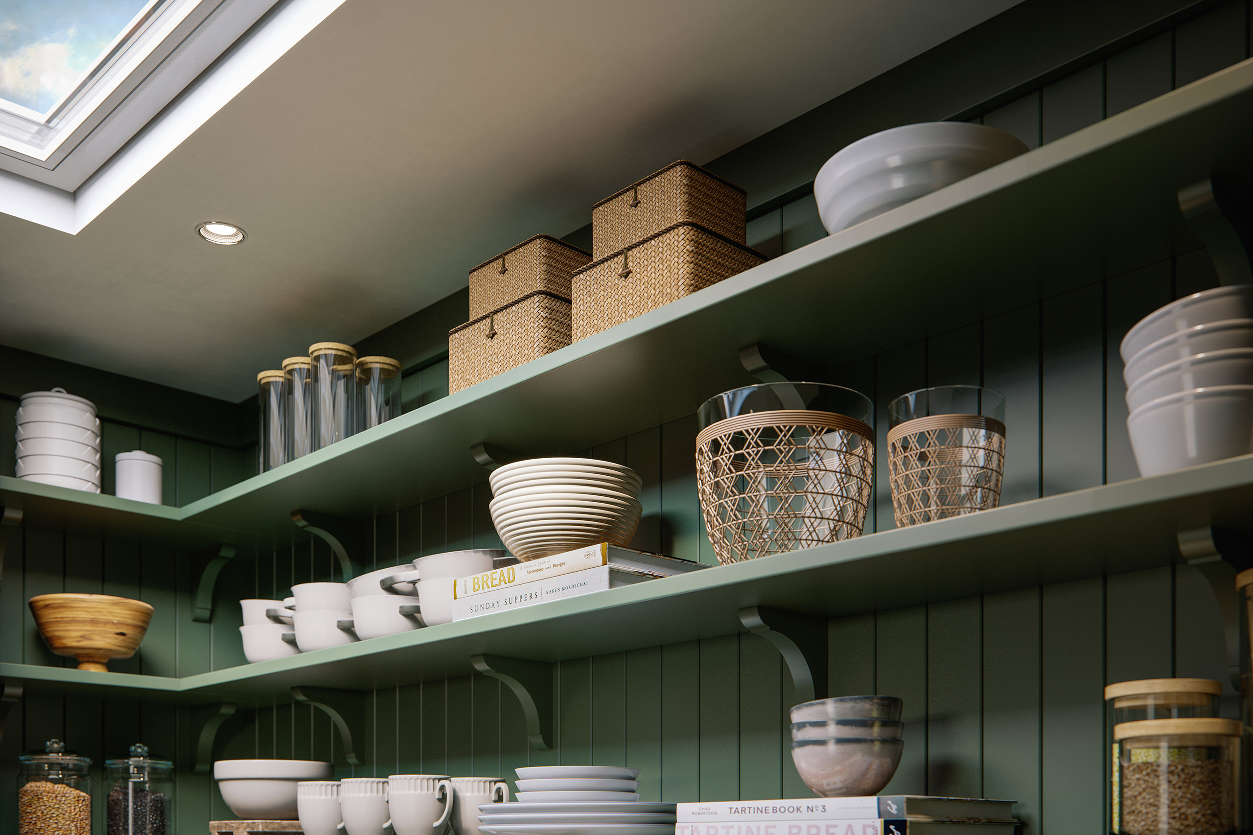 Angle 3D view of dark green shelves with kitchenware and recipe books under a skylight