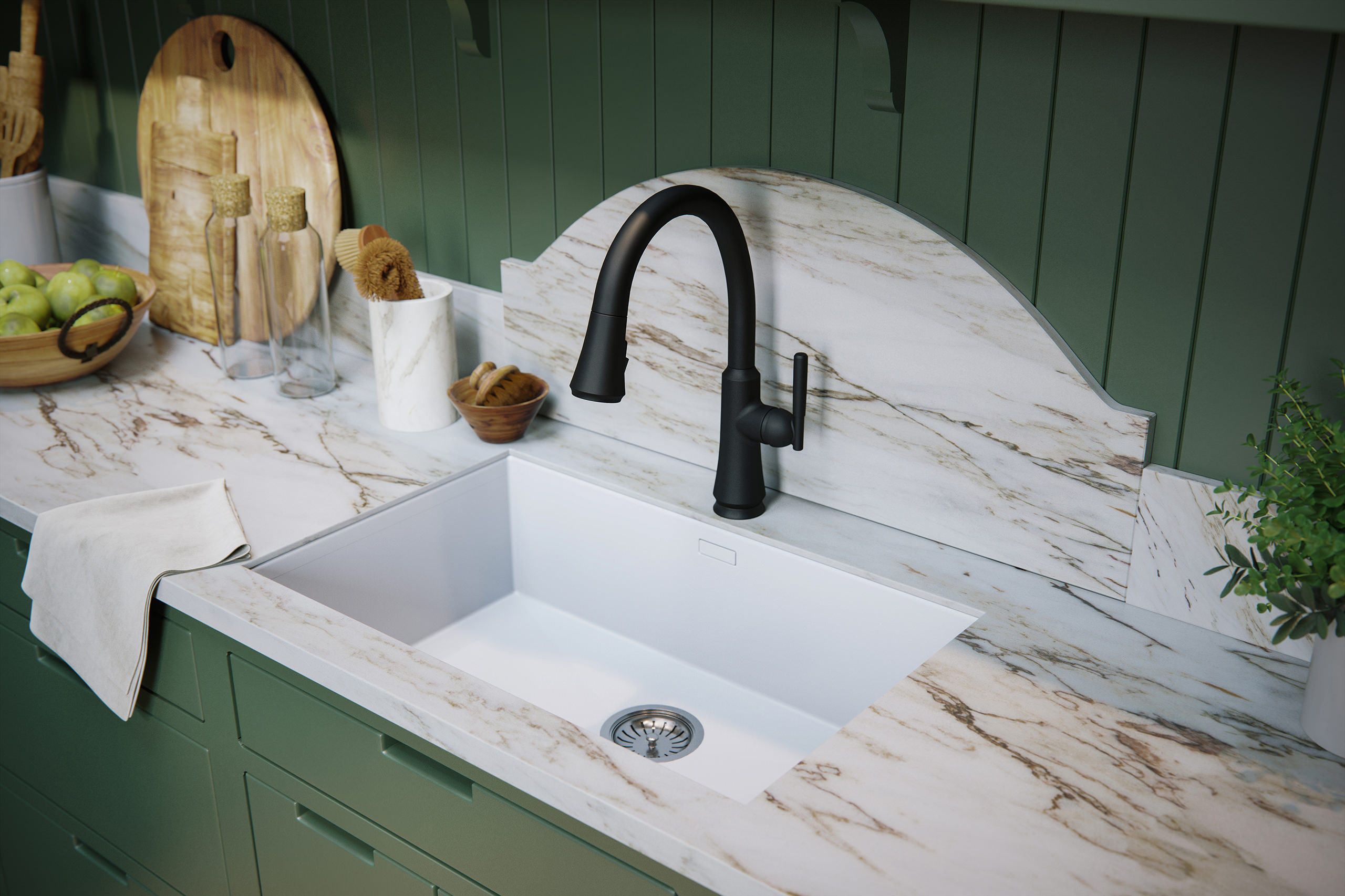 Close-up visualization of a black matte Delta Coranto kitchen faucet on top of a marble sink with a white towel and wooden accessories around