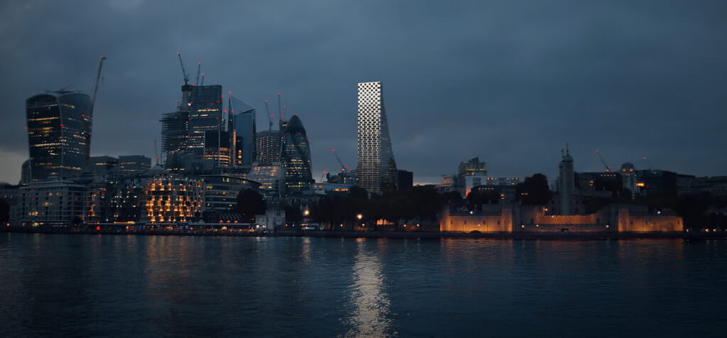 Eye-level architectural 3D visualization of London futuristic skyscrapers